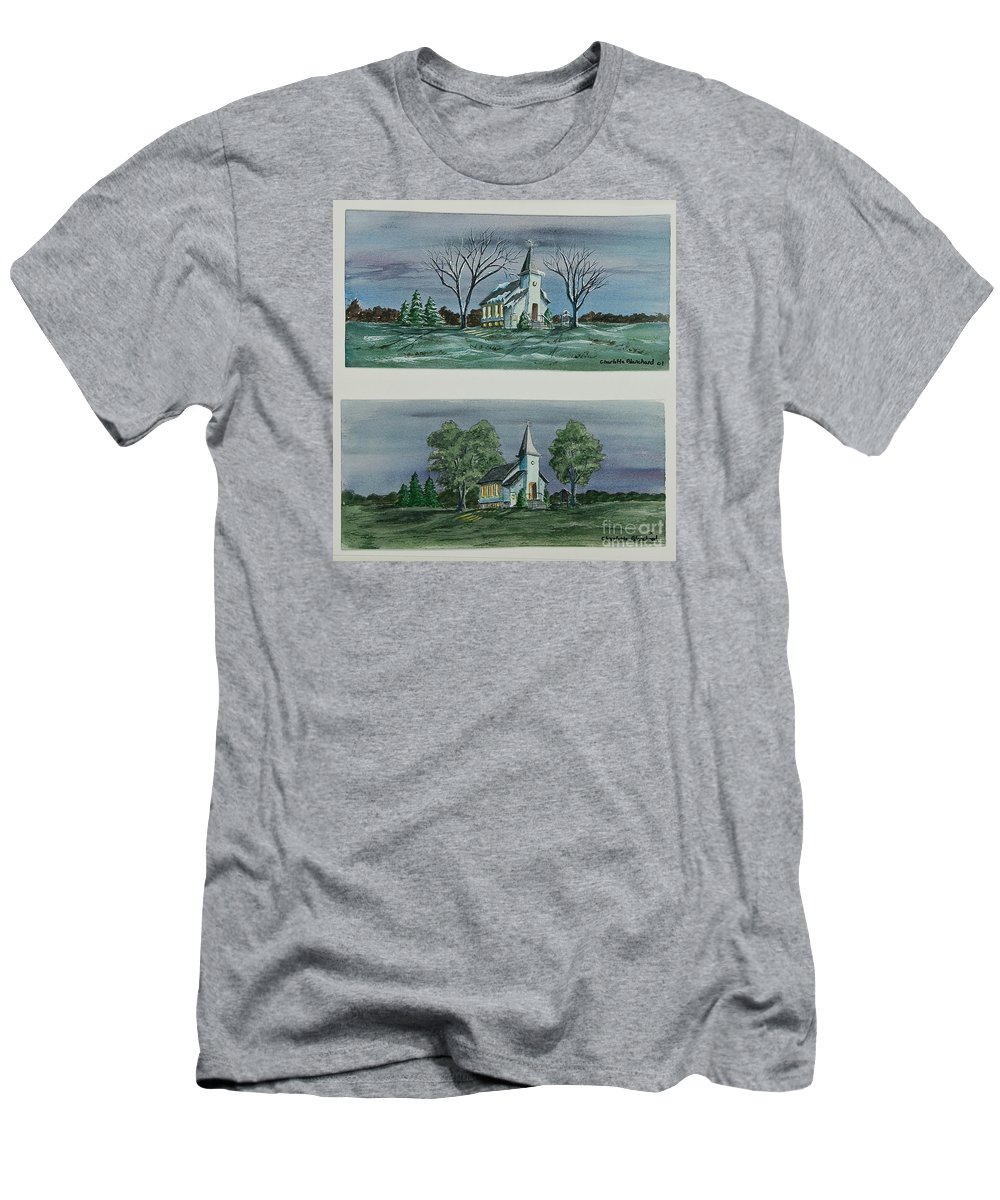 Country Church Men's T-Shirt (Athletic Fit) featuring the painting Evening Worship In Winter And Summer by Charlotte Blanchard