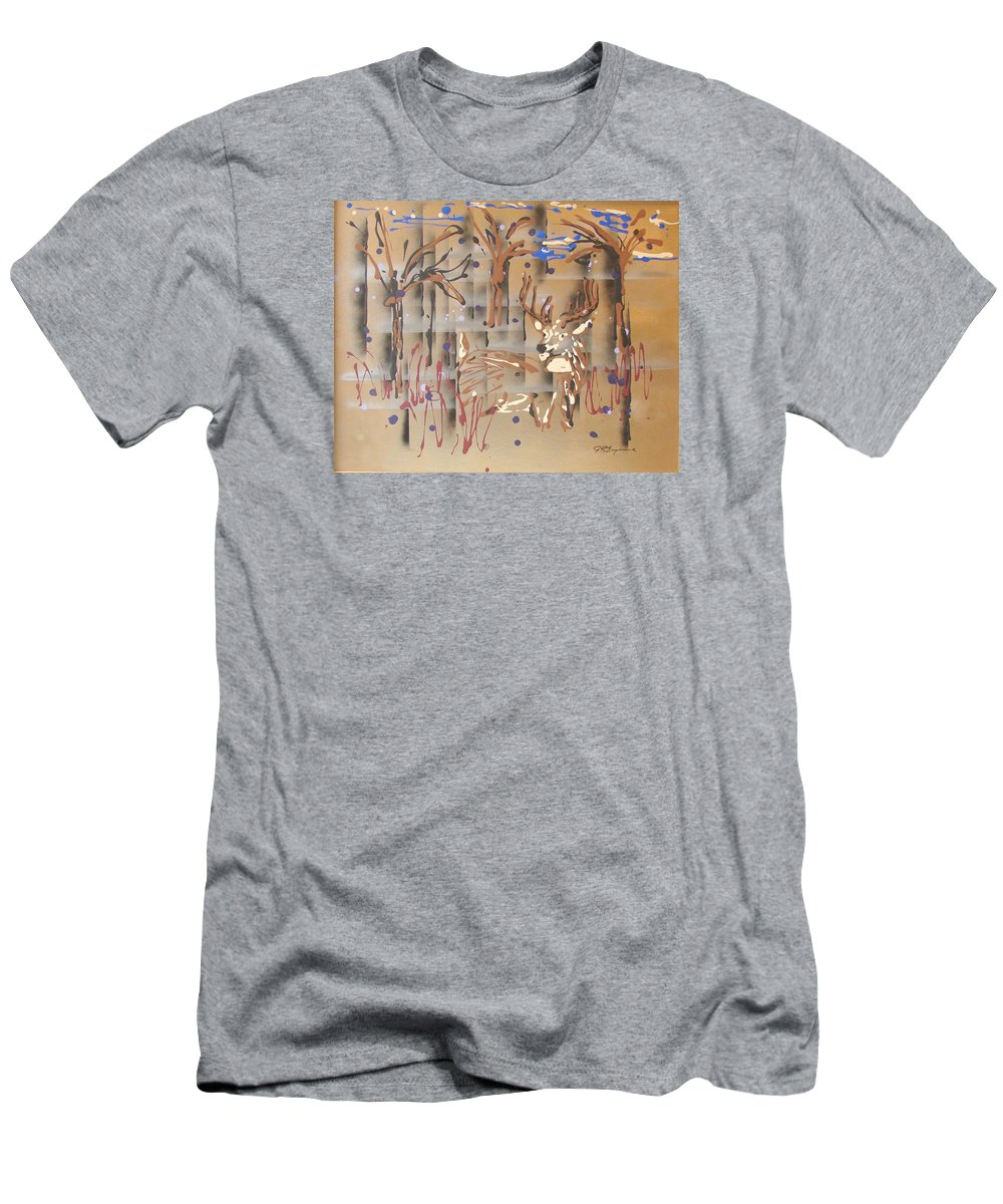 Buck In Tree Line Men's T-Shirt (Slim Fit) featuring the painting Everwatchful by J R Seymour