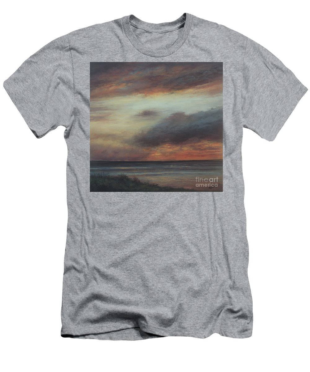 Sunset Men's T-Shirt (Athletic Fit) featuring the painting Every Cloud Has A Silver Lining by Valerie Travers