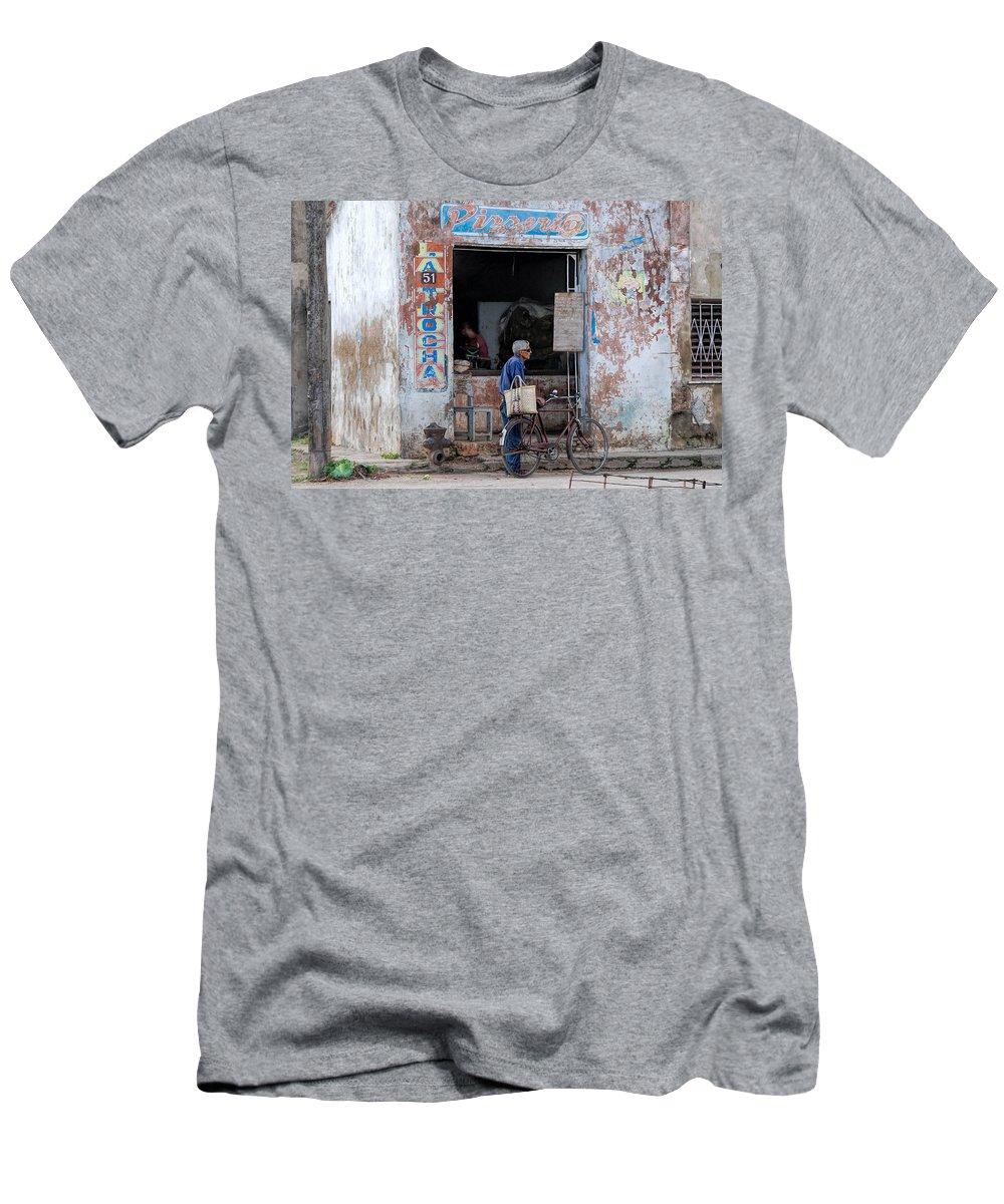 Camaguey; Cuba; Havanna; Habana; Kuba; Pizzeria T-Shirt featuring the photograph Ex-pizzeria In Camaguey by Marie Schleich