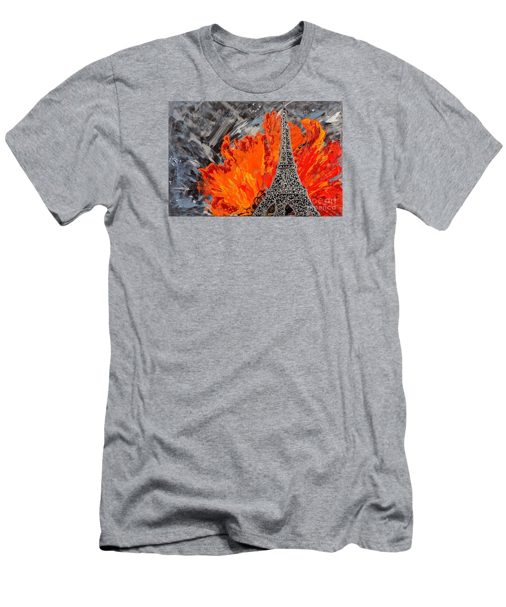 Eiffel Tower Men's T-Shirt (Athletic Fit) featuring the painting Exciting by Sheila McPhee