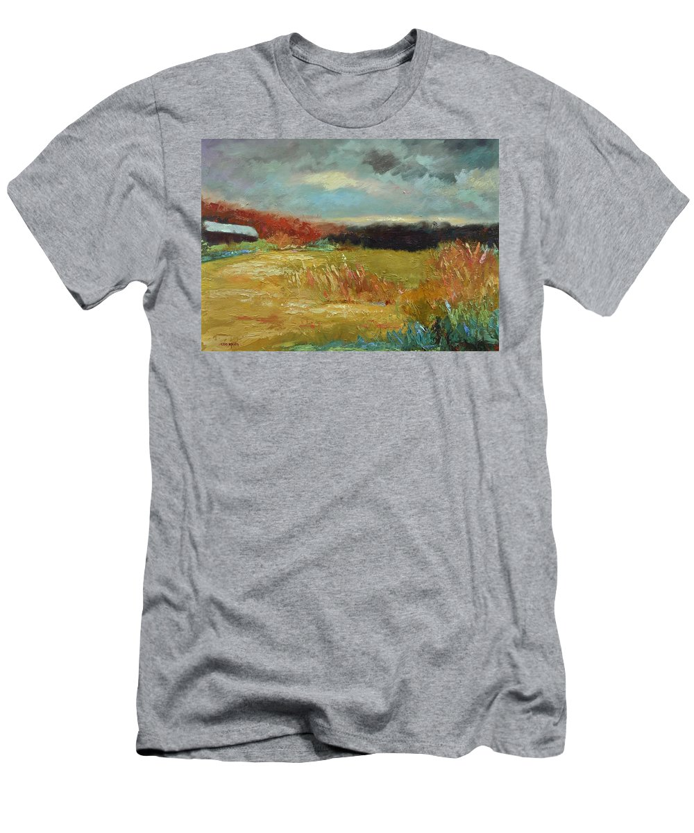 Stormy Landscapes Men's T-Shirt (Athletic Fit) featuring the painting Expecting A Storm by Ginger Concepcion