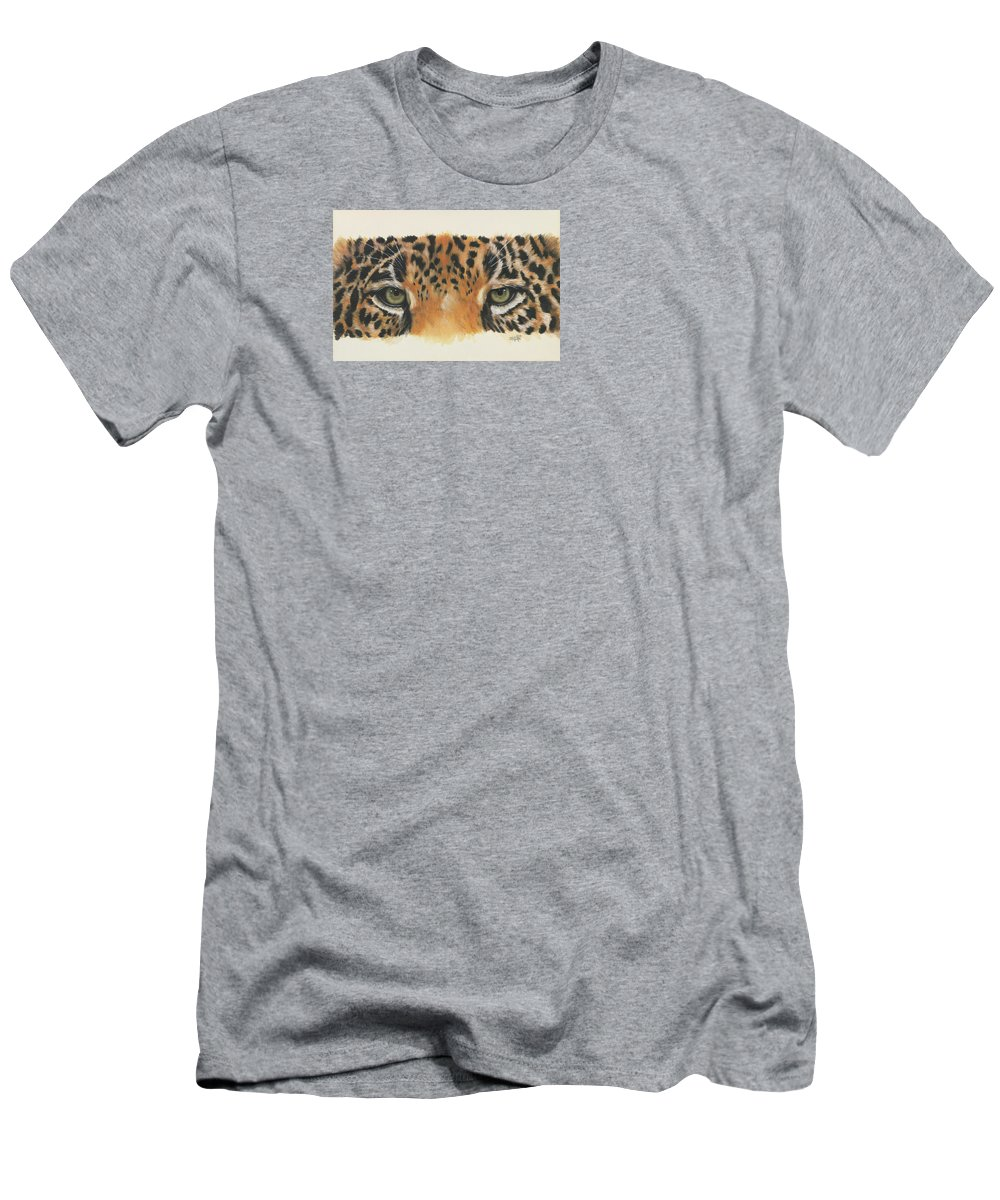 Jaguar Men's T-Shirt (Athletic Fit) featuring the painting Eye-catching Jaguar by Barbara Keith
