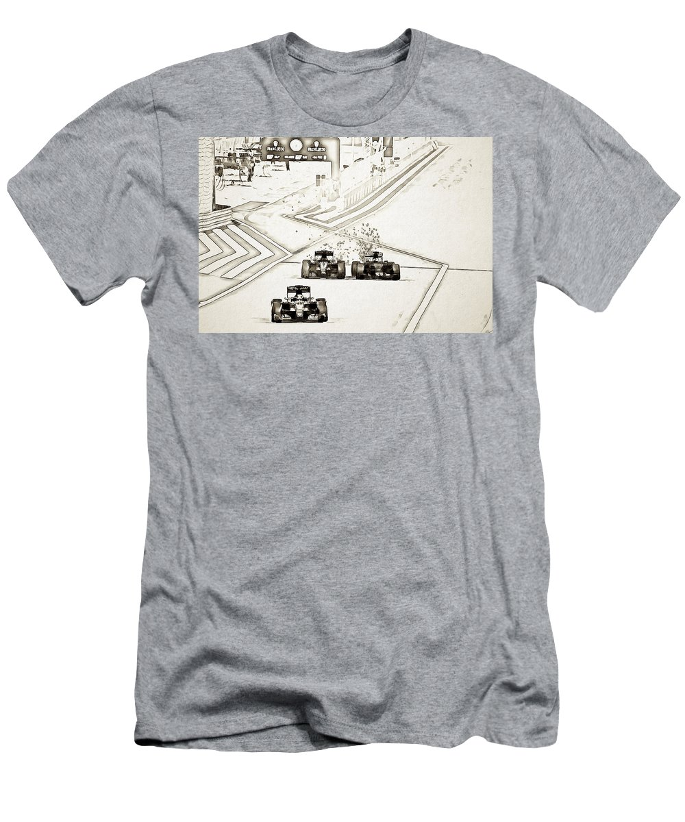 F1 Men's T-Shirt (Athletic Fit) featuring the digital art F1 by Lora Battle