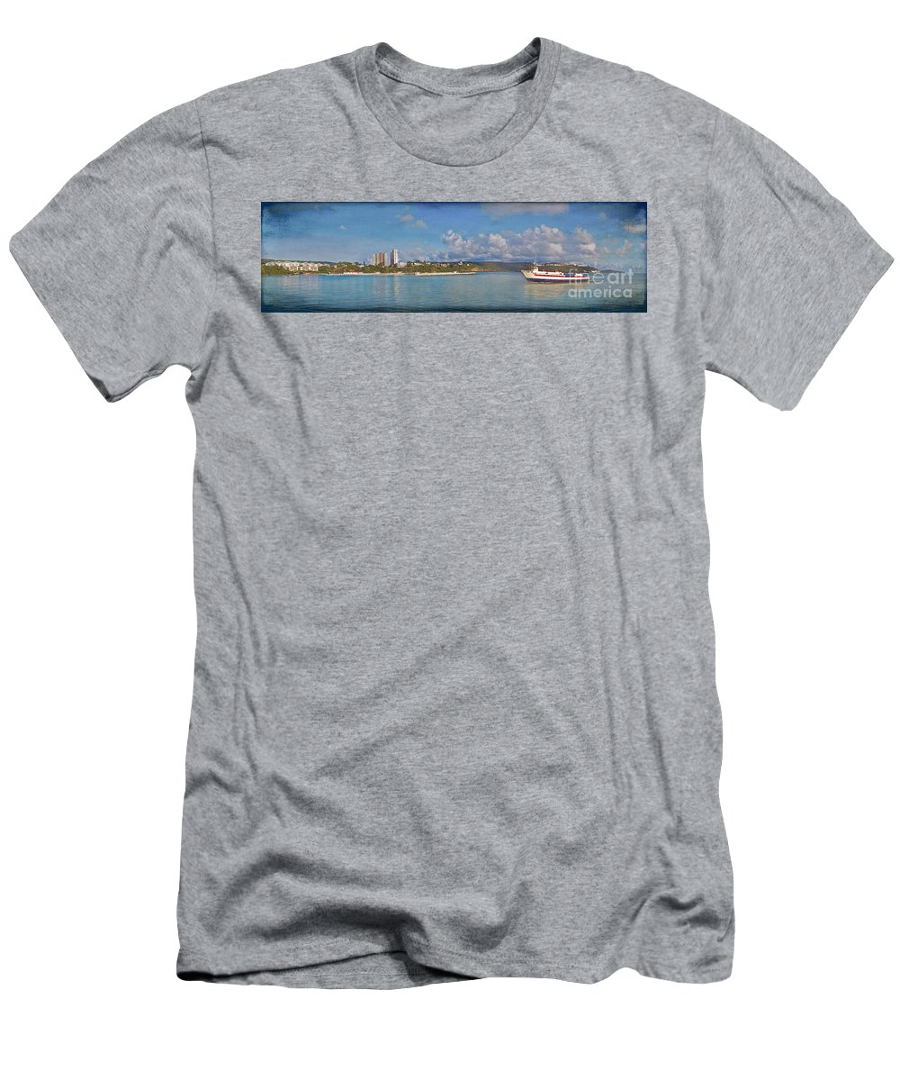 Fajardo Men's T-Shirt (Athletic Fit) featuring the photograph Fajardo Ferry Service To Culebra And Vieques Panorama by David Zanzinger