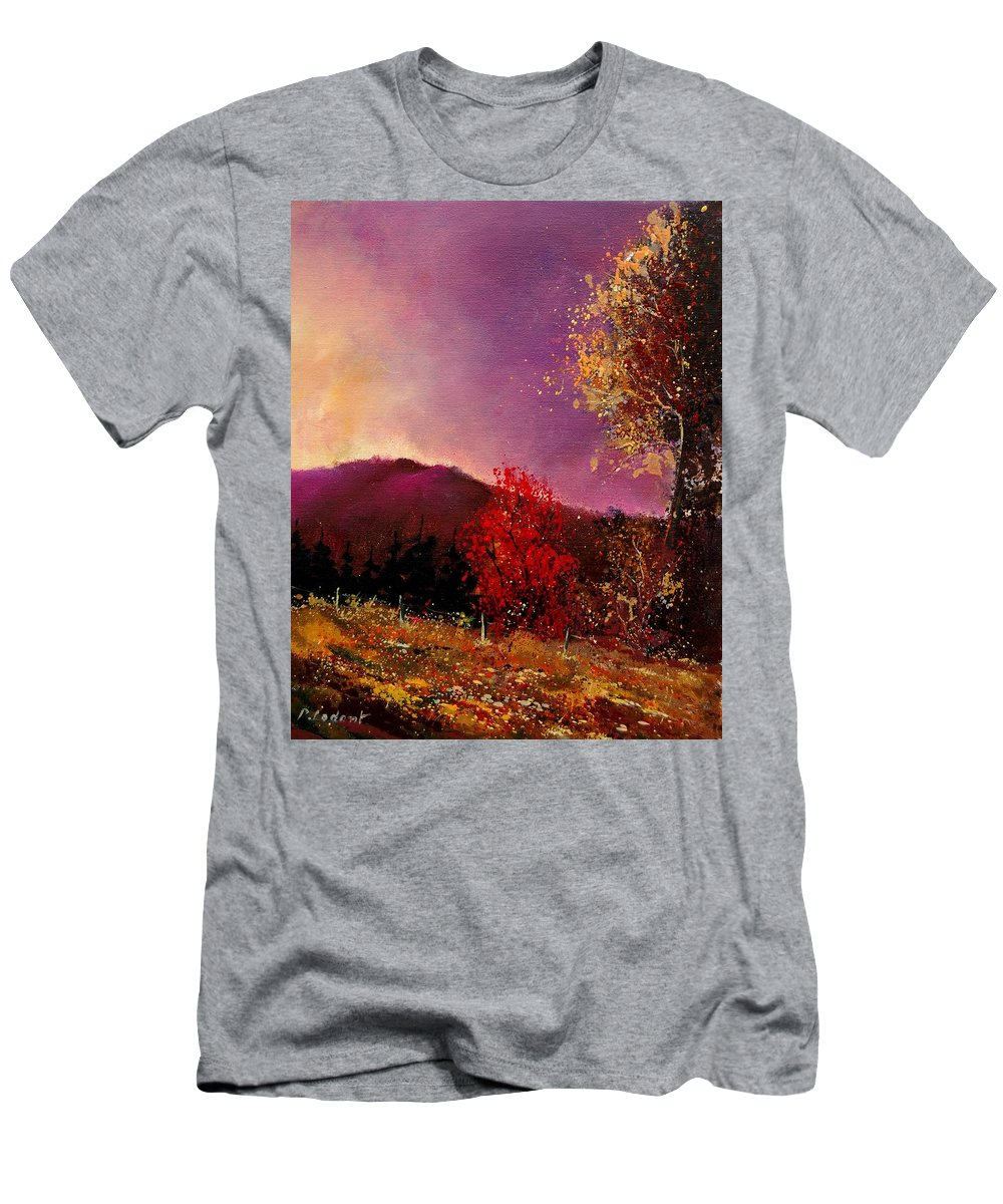 River Men's T-Shirt (Athletic Fit) featuring the painting Fall Colors by Pol Ledent