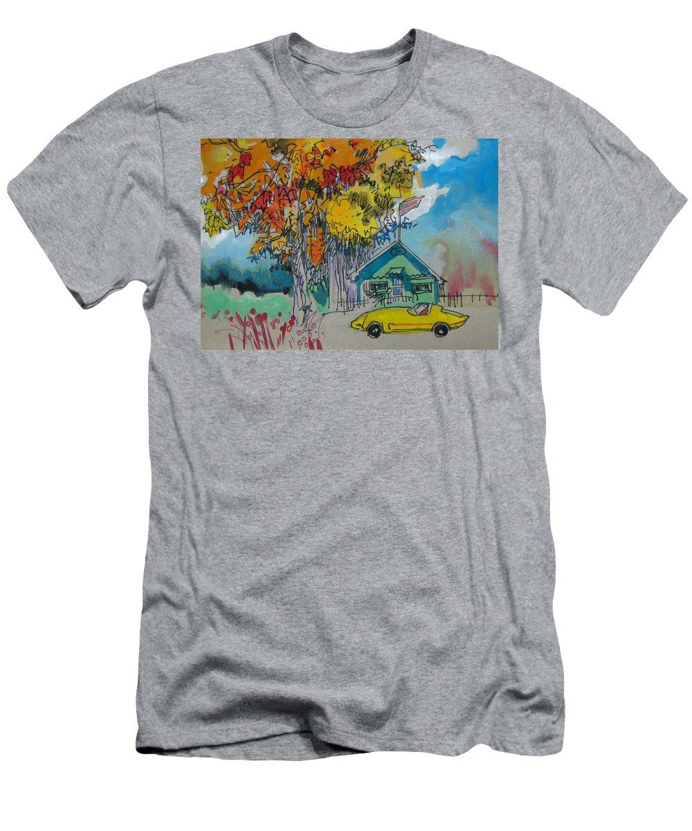Fall T-Shirt featuring the drawing Fall by Guanyu Shi
