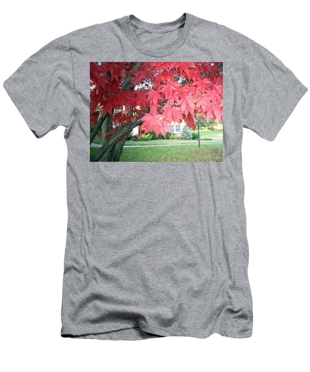 Fall Pictures Men's T-Shirt (Athletic Fit) featuring the photograph Fall Reds by Karin Dawn Kelshall- Best