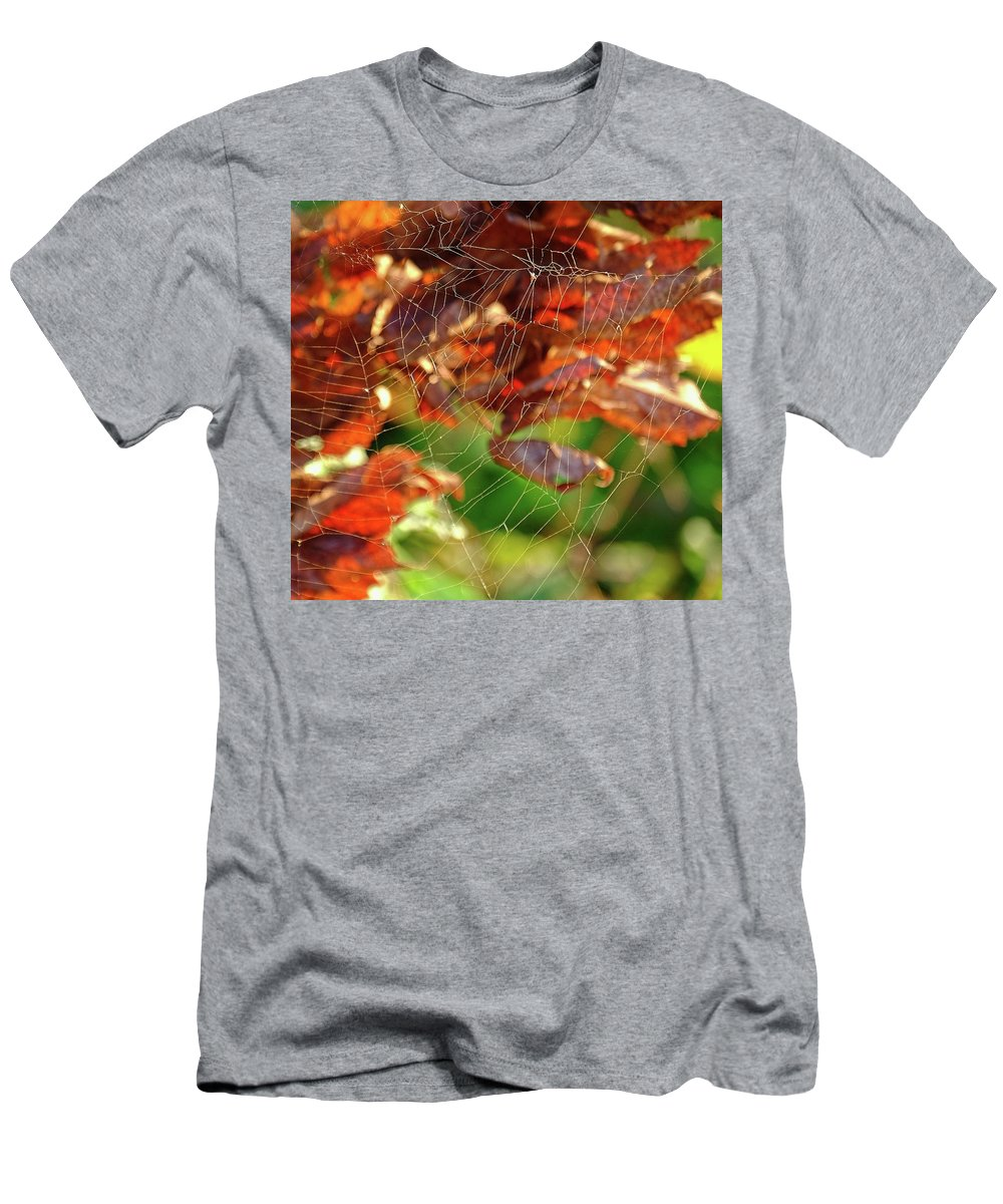 Fall Men's T-Shirt (Athletic Fit) featuring the photograph Fall Spiderweb by Ronda Ryan