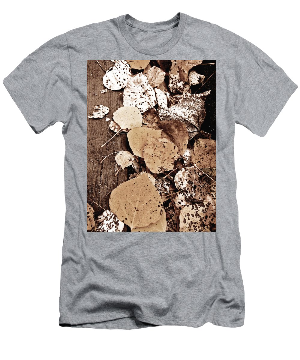 Leaves Men's T-Shirt (Athletic Fit) featuring the photograph Fallen Leaves by Barbara MacFerrin