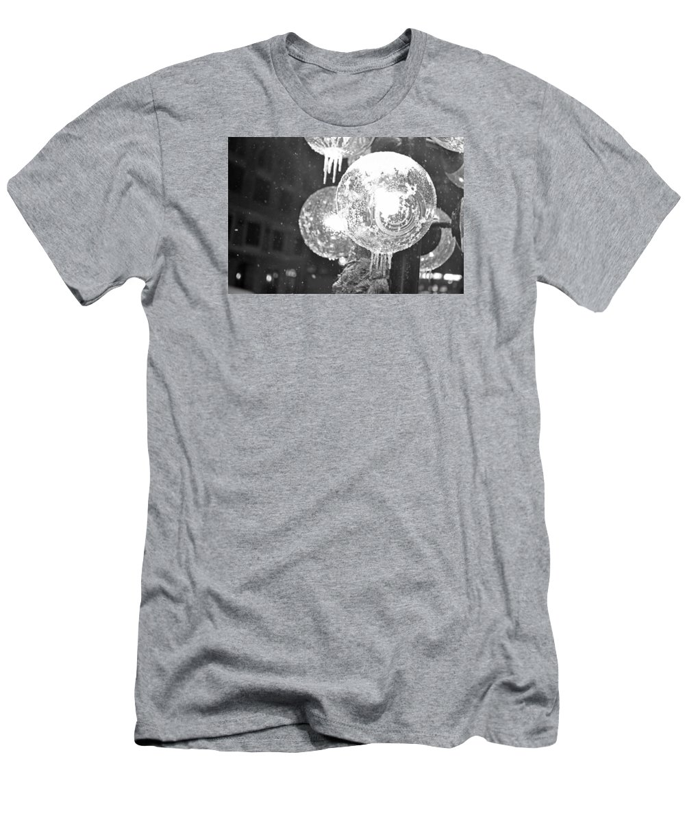 Faneuil Men's T-Shirt (Athletic Fit) featuring the photograph Faneuil Hall Lollypop Light Icicles Boston Ma Black And White by Toby McGuire