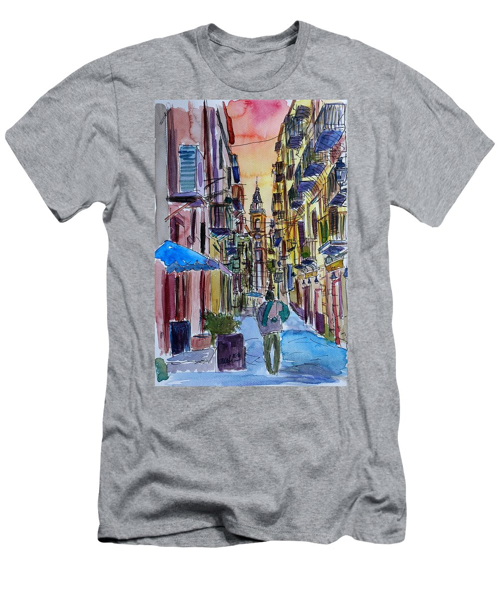 Palermo Men's T-Shirt (Athletic Fit) featuring the painting Fascinating Palermo Sicily Italy Street Scene by M Bleichner