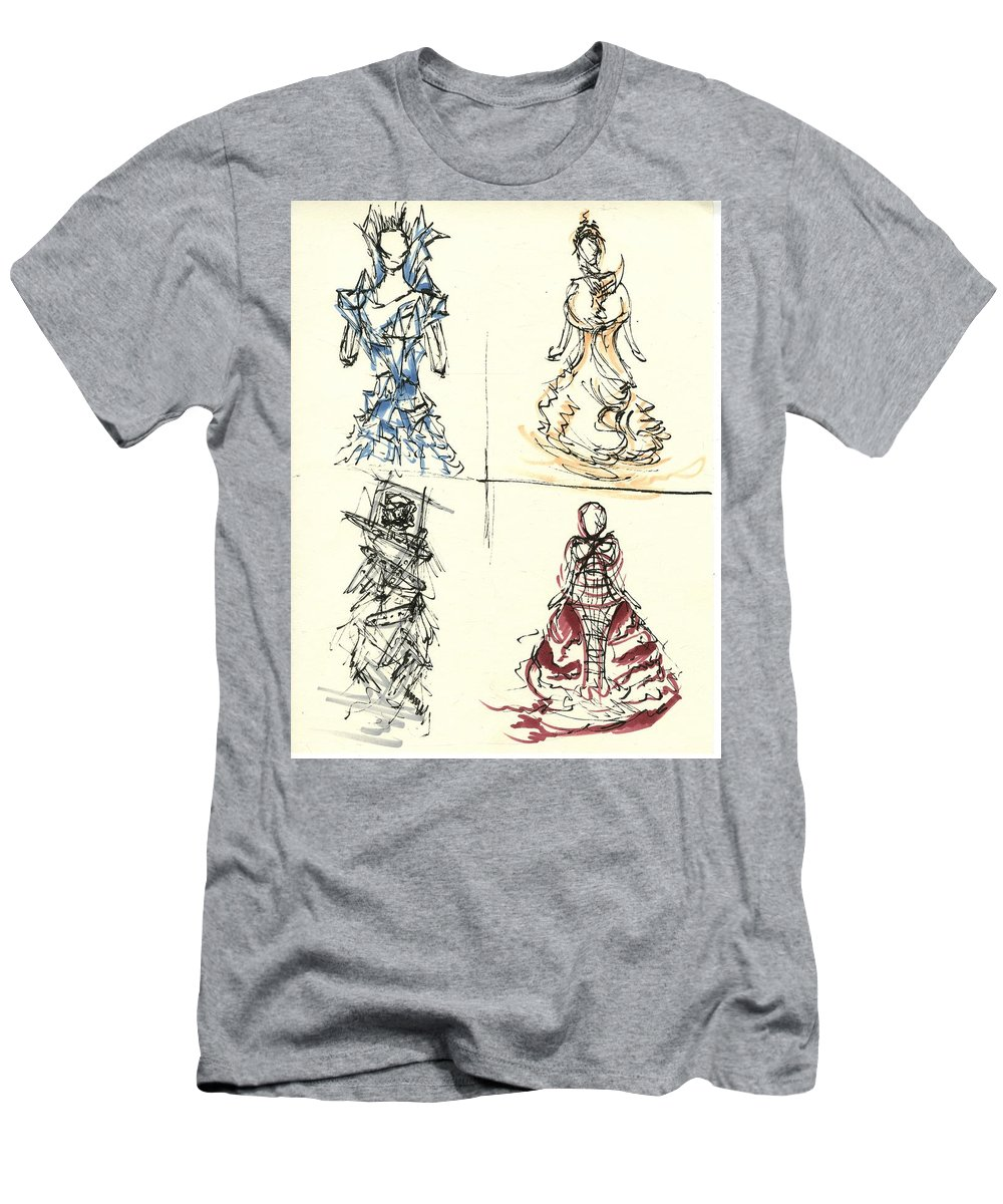 Fashion Illustration Men's T-Shirt (Athletic Fit) featuring the drawing Fashionista 4 by Nadine Westerveld