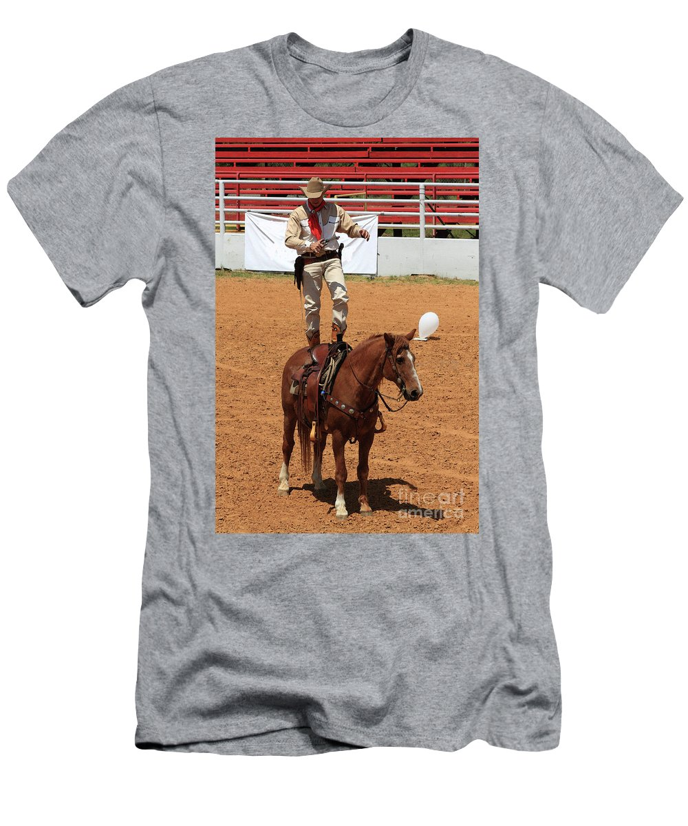 Western Art Men's T-Shirt (Athletic Fit) featuring the photograph Fast Draw Cowboy by Kim Henderson