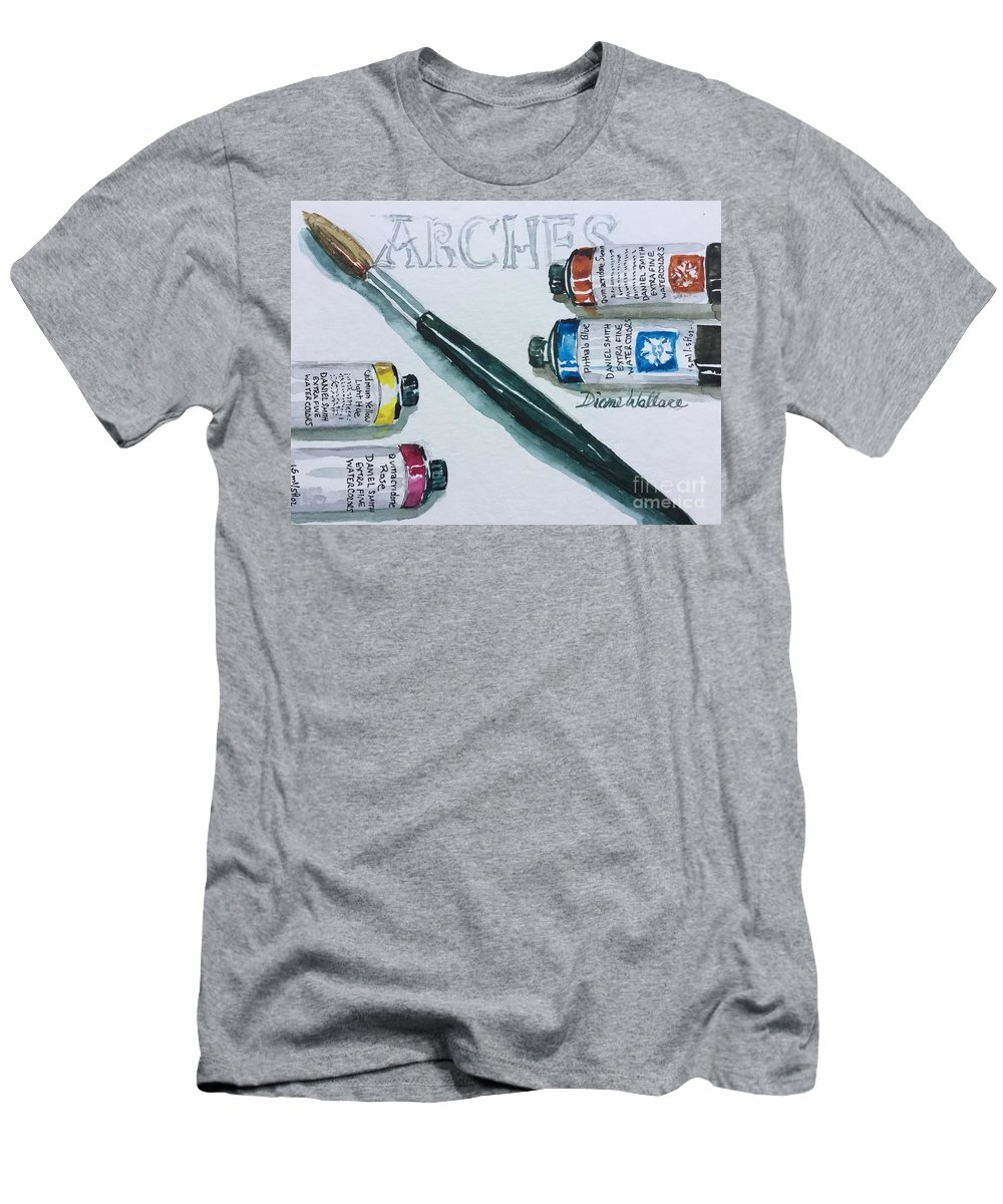 Artist Tools Men's T-Shirt (Athletic Fit) featuring the painting Favorite Supplies by Diane Wallace