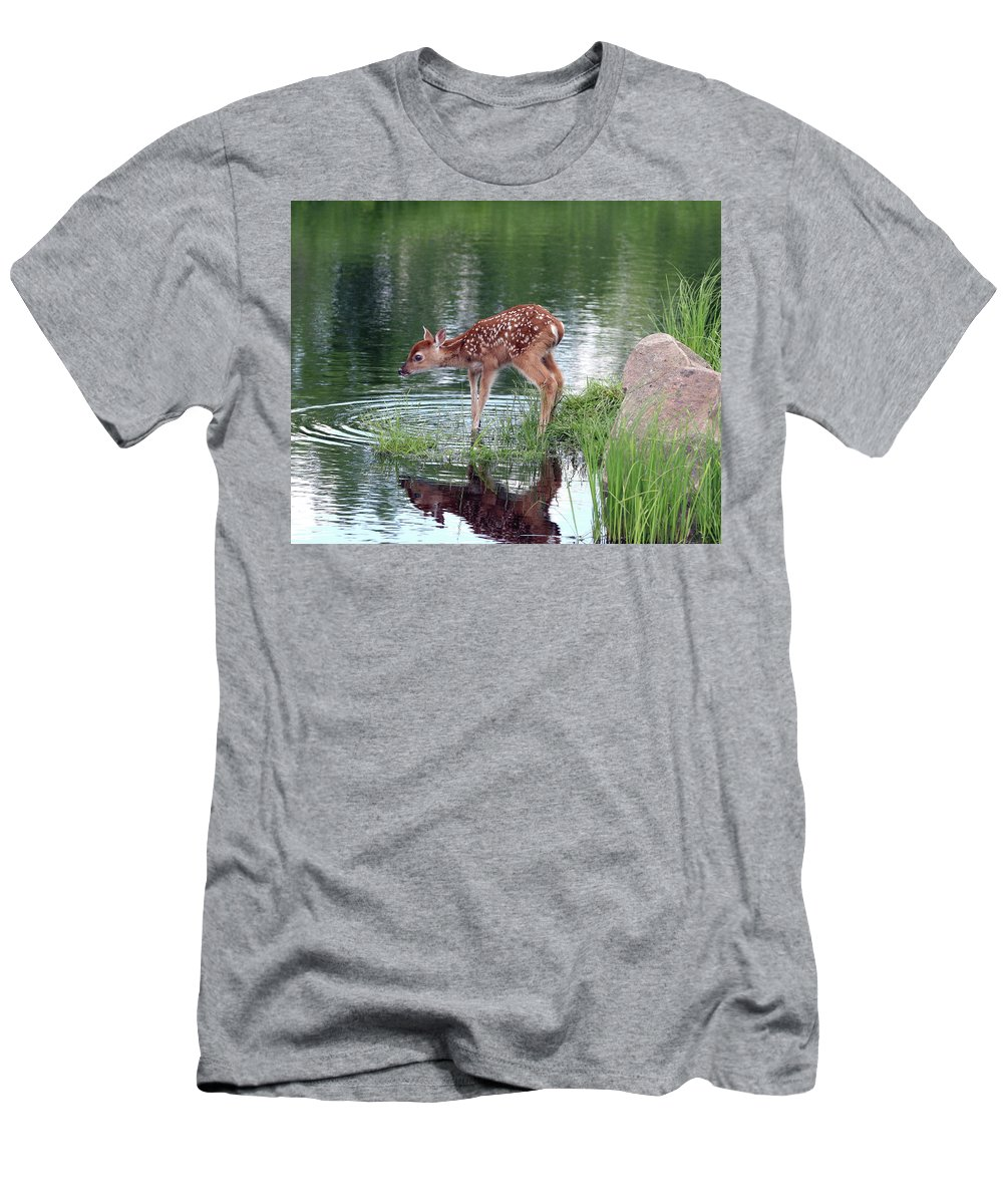 Deer Men's T-Shirt (Athletic Fit) featuring the photograph Fawn At The Water Hole by Herbert L Fields Jr