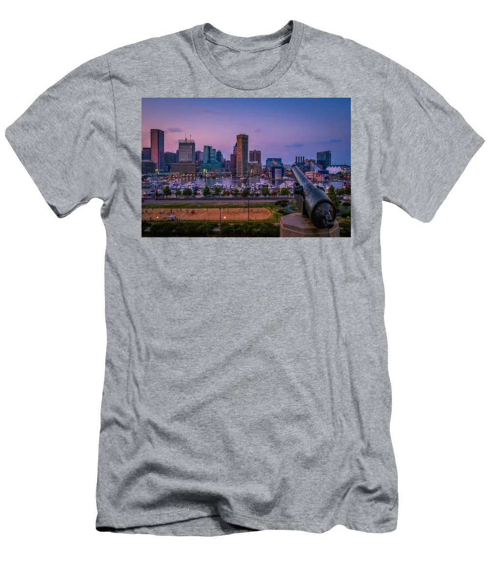 Baltimore Men's T-Shirt (Athletic Fit) featuring the photograph Federal Hill In Baltimore Maryland by Susan Candelario