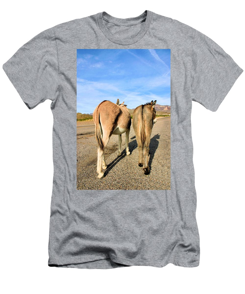 Burros Men's T-Shirt (Athletic Fit) featuring the photograph Feelin A Little Behind by Kristin Elmquist