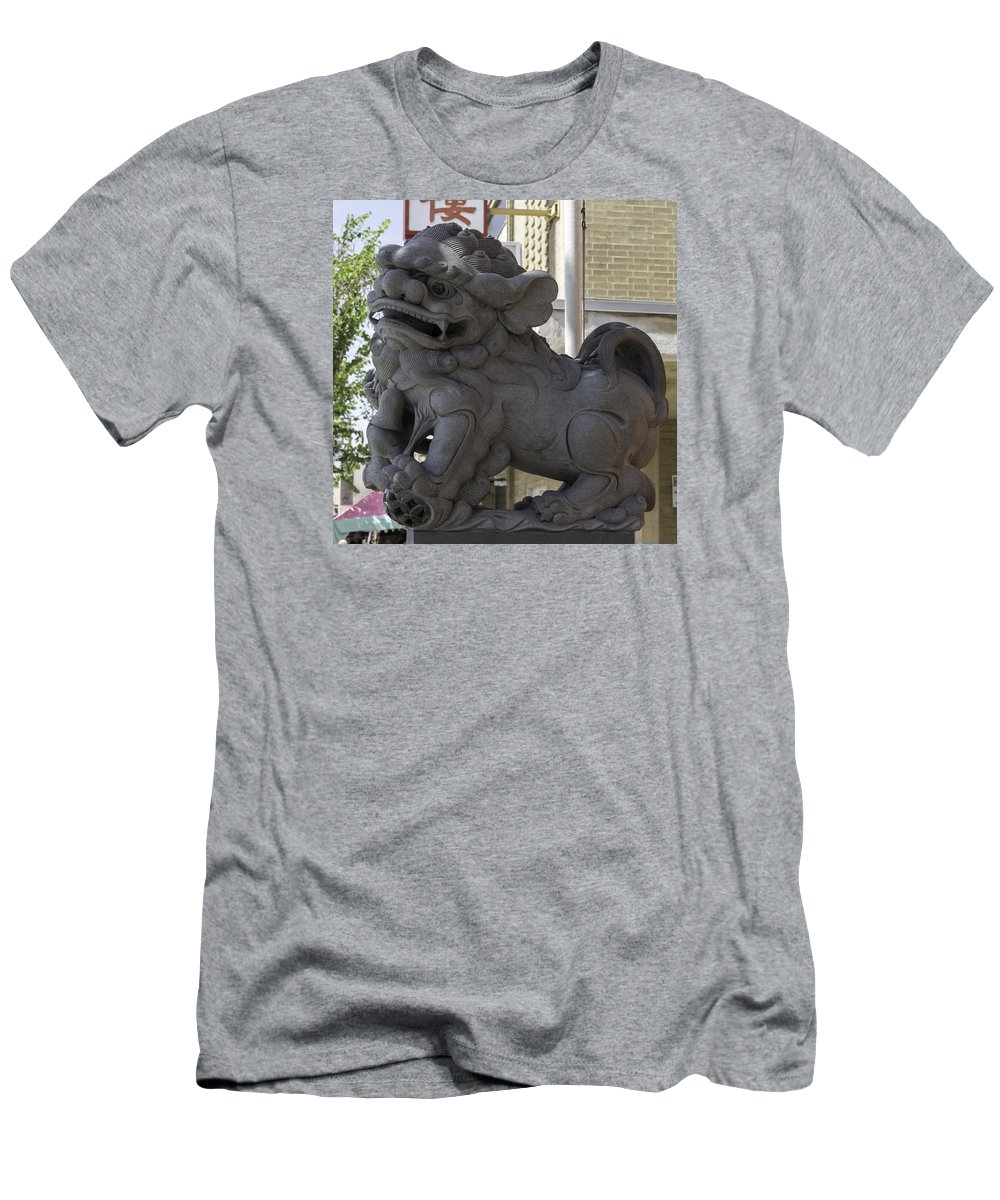 Teresa A Mucha Men's T-Shirt (Athletic Fit) featuring the photograph Female Chinese Guardian Lion by Teresa Mucha