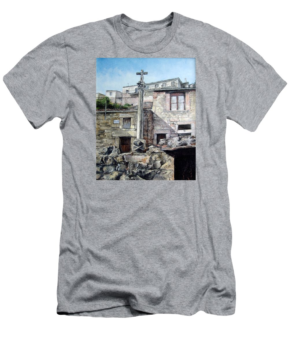 Fermoselle Men's T-Shirt (Athletic Fit) featuring the painting Fermoselle.-crucero by Tomas Castano