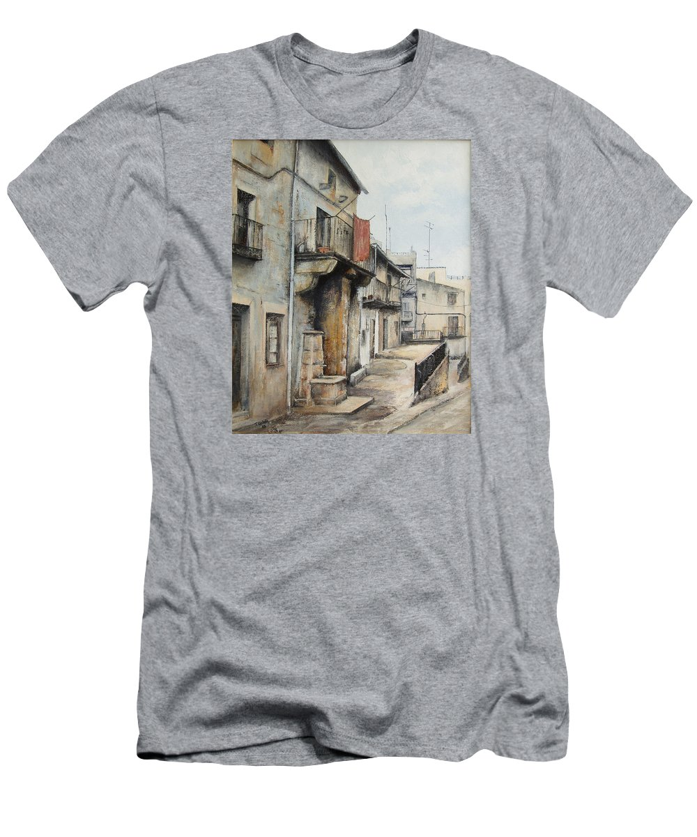 Fermoselle Zamora Spain Oil Painting City Scapes Urban Art Men's T-Shirt (Athletic Fit) featuring the painting Fermoselle by Tomas Castano