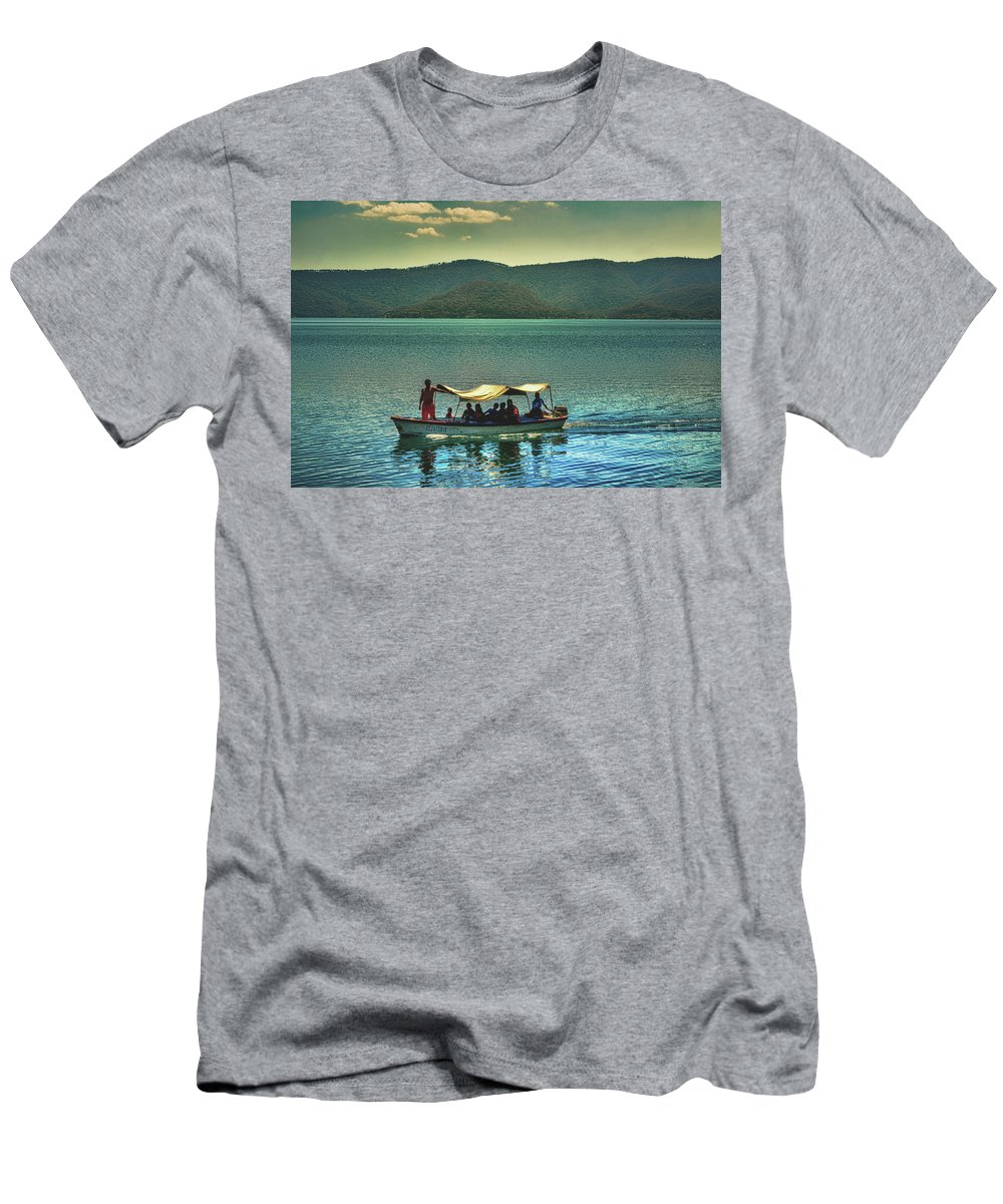Ferry Men's T-Shirt (Athletic Fit) featuring the photograph Ferry - Lago De Coatepeque - El Salvador by Totto Ponce