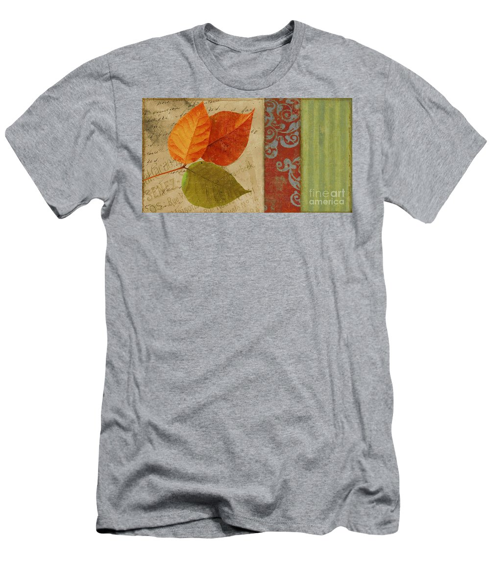 Autumn Leaf Men's T-Shirt (Athletic Fit) featuring the painting Feuilles II by Mindy Sommers