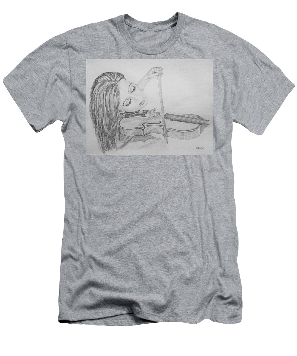 Sketch Men's T-Shirt (Athletic Fit) featuring the drawing Fiddler by Sheryl Gallant