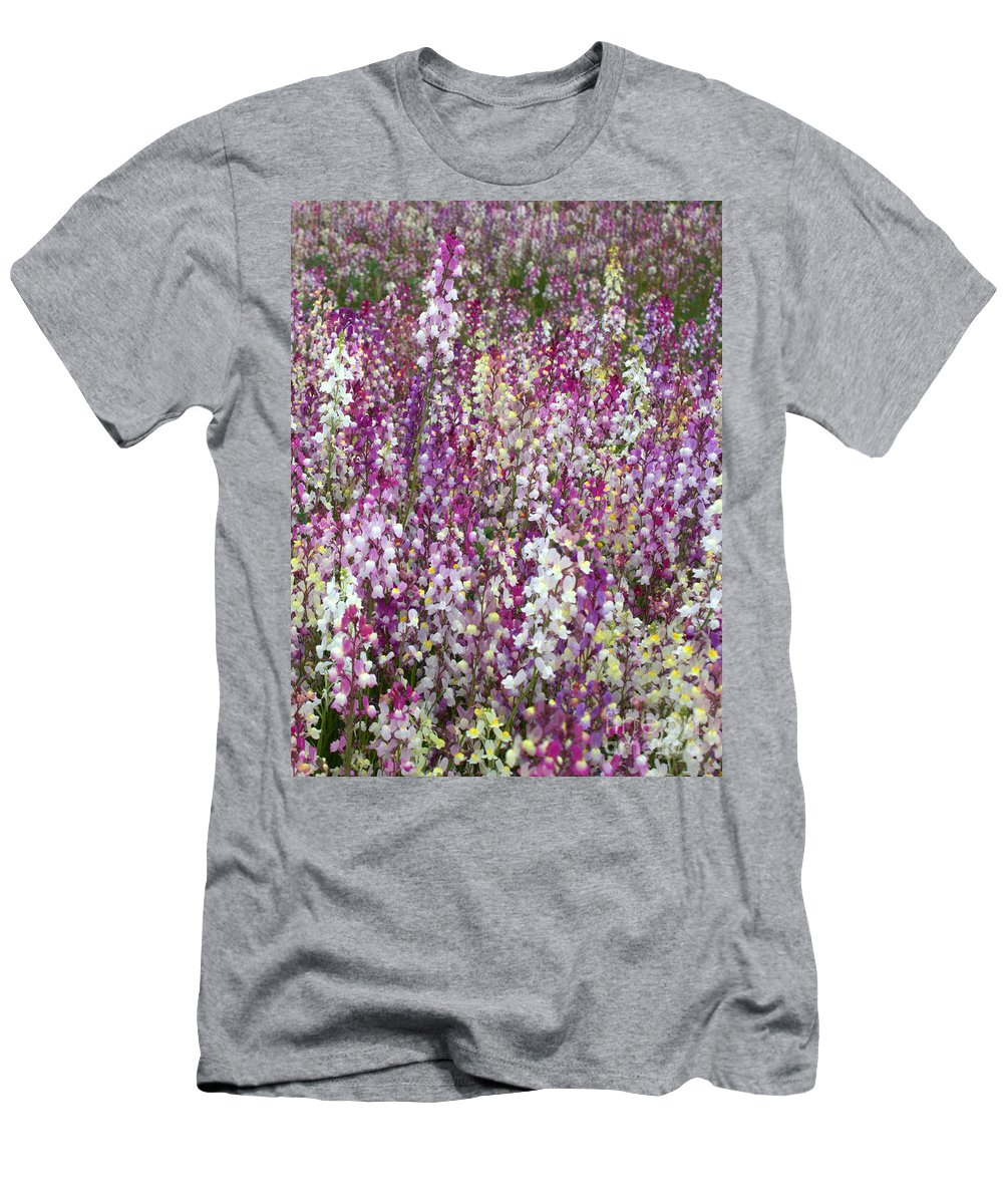 Flowers Men's T-Shirt (Athletic Fit) featuring the photograph Field Of Multi-colored Flowers by Carol Groenen