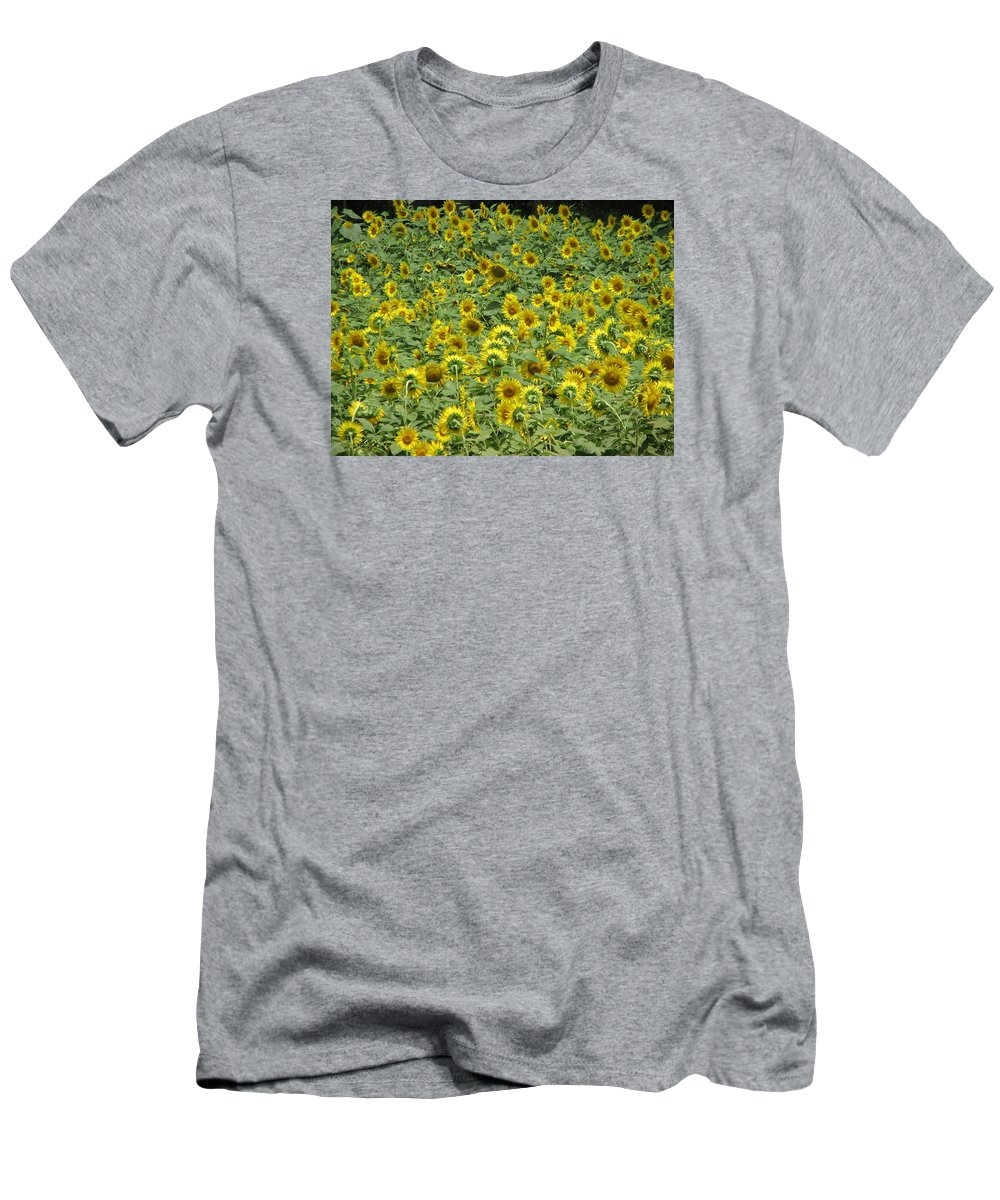 Flowers Men's T-Shirt (Athletic Fit) featuring the photograph Field Of Sun by Sandra Bourret