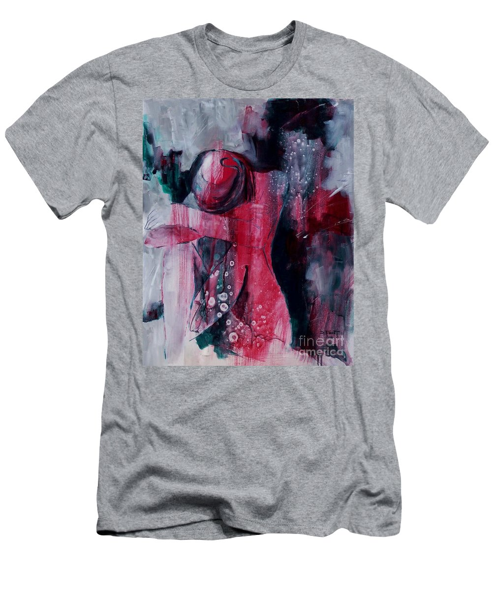 Abstract Expressionism Men's T-Shirt (Athletic Fit) featuring the painting Figure Study 021 by Donna Frost