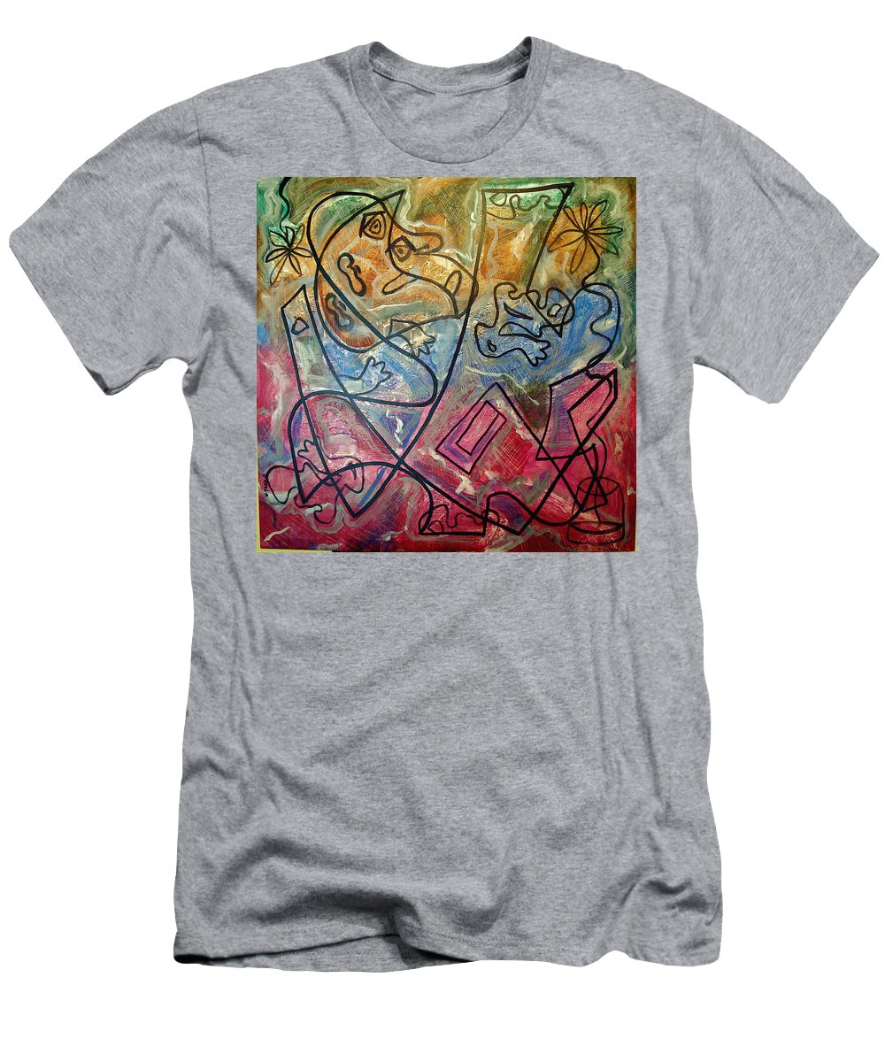Modern Abstract Men's T-Shirt (Athletic Fit) featuring the painting Finding Sun by W Todd Durrance