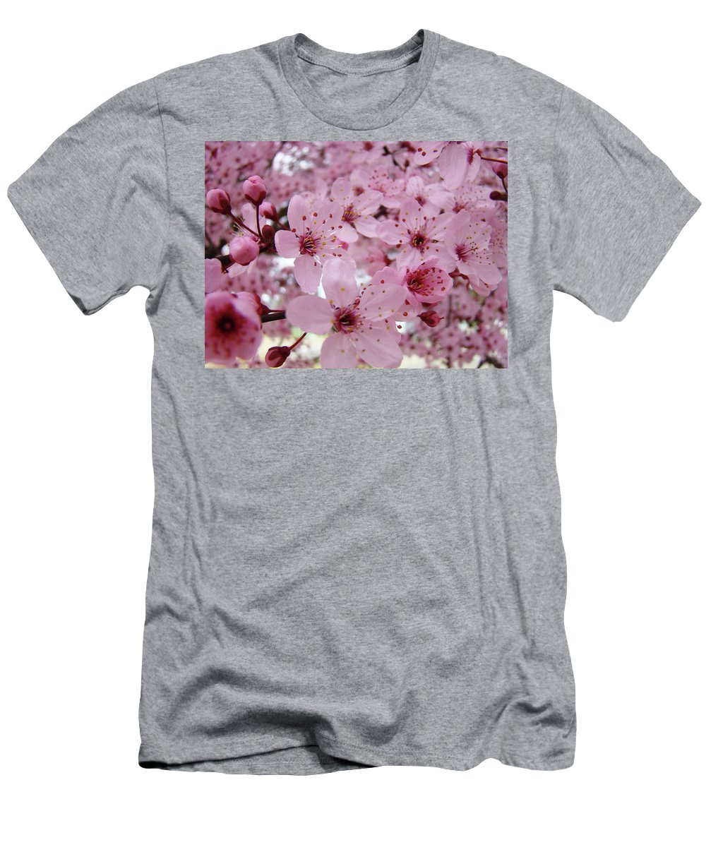 Blossom Men's T-Shirt (Athletic Fit) featuring the photograph Fine Art Prints Spring Pink Blossoms Trees Canvas Baslee Troutman by Baslee Troutman