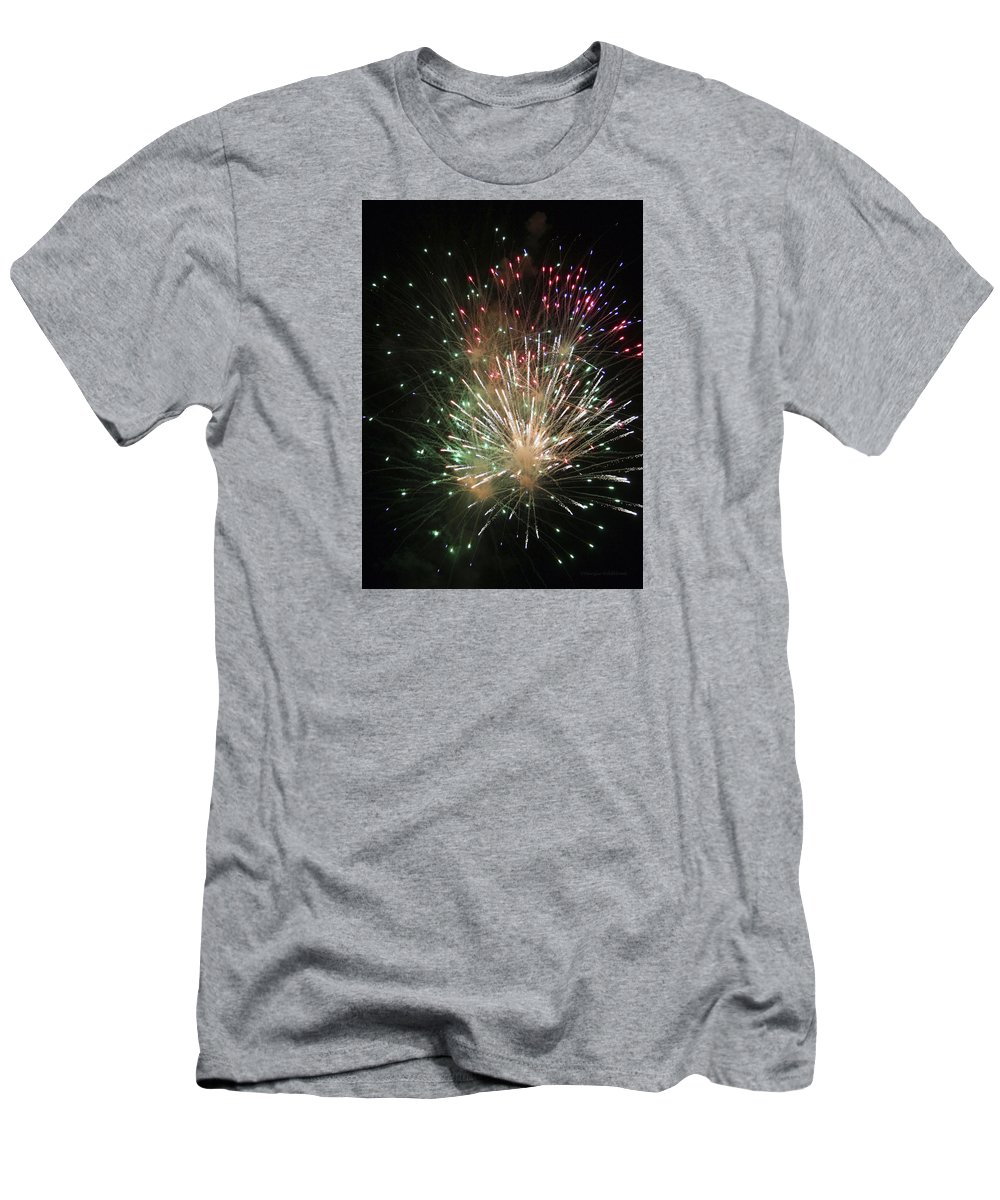 Fireworks Men's T-Shirt (Athletic Fit) featuring the photograph Fireworks by Margie Wildblood