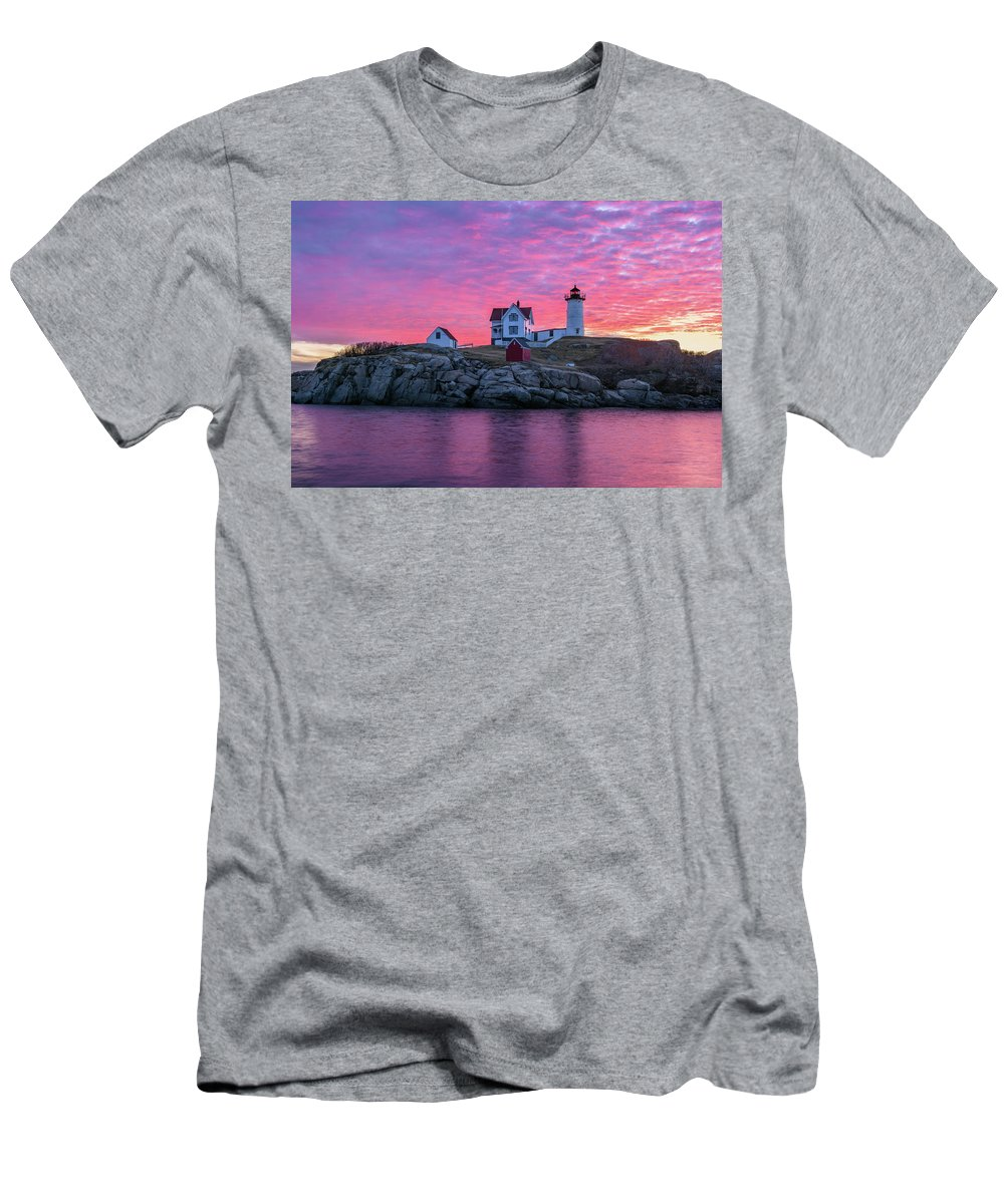 Cape Neddick Men's T-Shirt (Athletic Fit) featuring the photograph First Blush by Michael Blanchette
