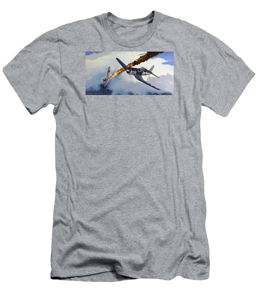 Military T-Shirt featuring the painting First Kill for the Jolly Rogers by Marc Stewart