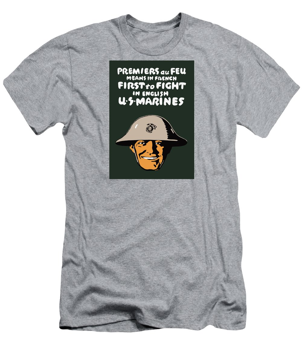 Marine Corps Men's T-Shirt (Athletic Fit) featuring the painting First To Fight - Us Marines by War Is Hell Store