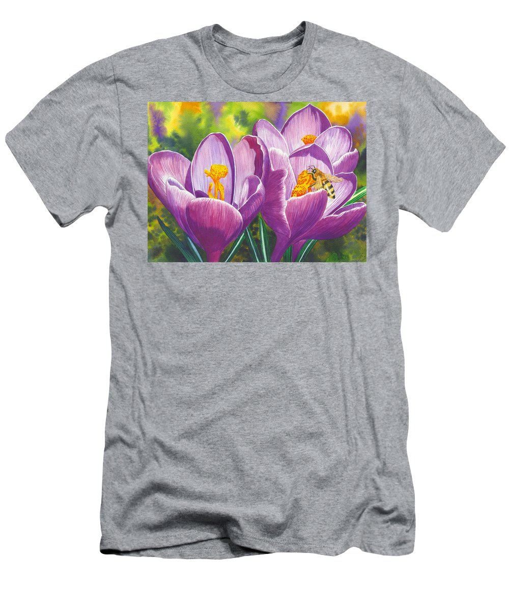Crocus Men's T-Shirt (Athletic Fit) featuring the painting First Up by Catherine G McElroy