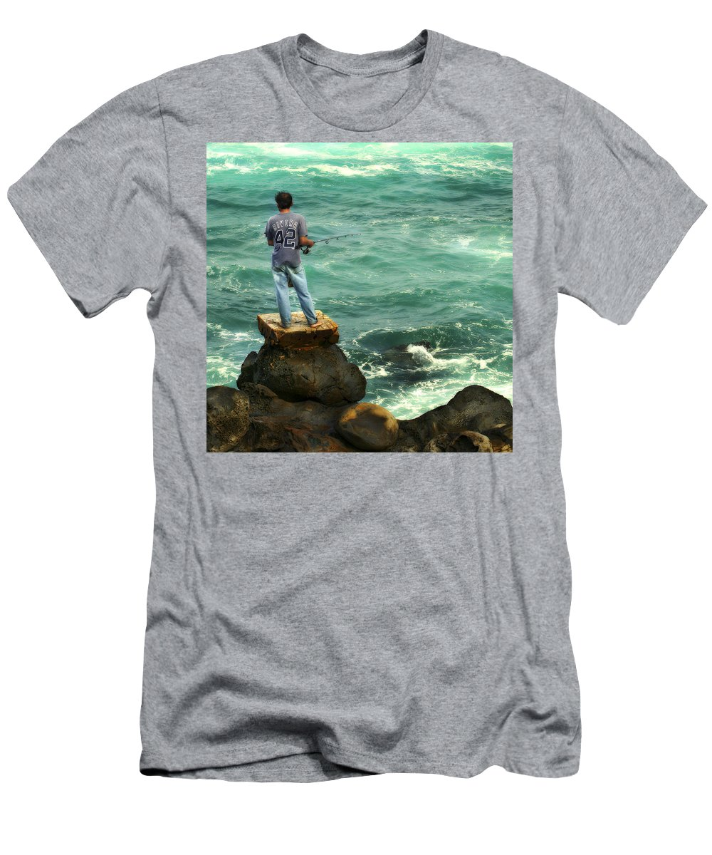 Americana Men's T-Shirt (Athletic Fit) featuring the photograph Fisherman by Marilyn Hunt