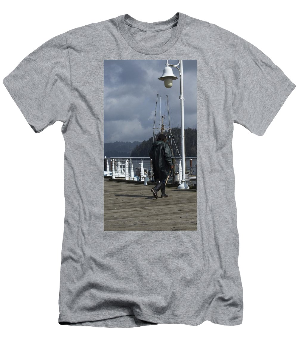 Dock Men's T-Shirt (Athletic Fit) featuring the photograph Fisherman by Sara Stevenson