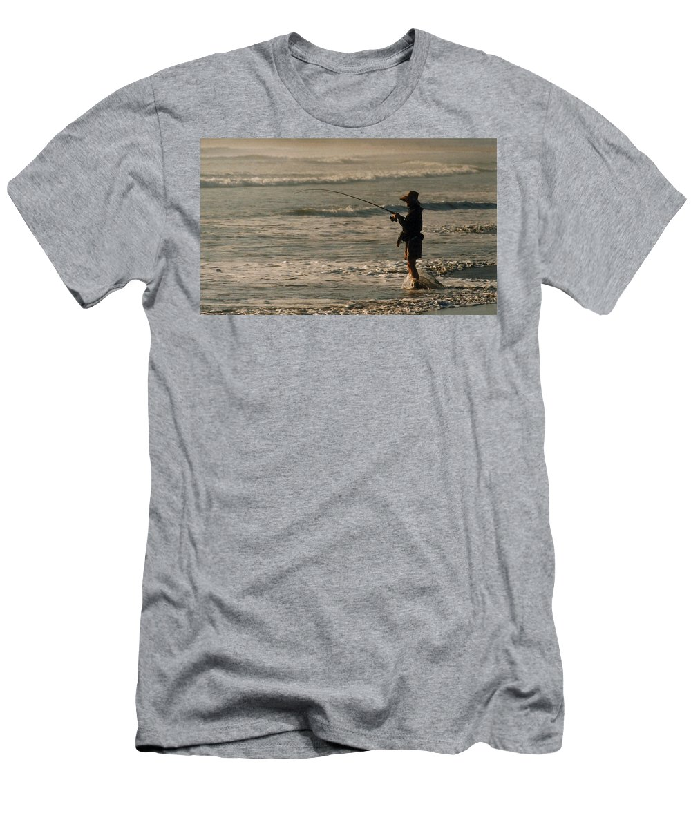 Fisherman Men's T-Shirt (Athletic Fit) featuring the photograph Fisherman by Steve Karol