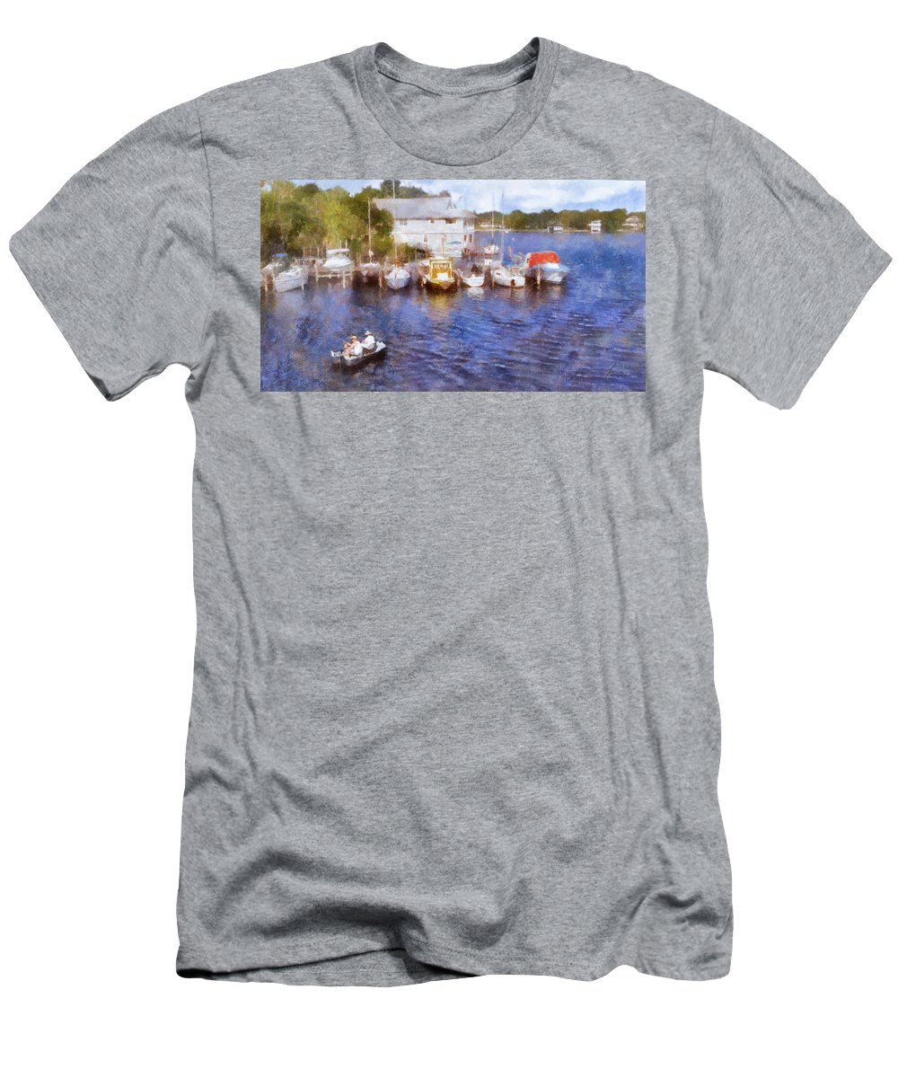 Two Men's T-Shirt (Athletic Fit) featuring the digital art Fishing At The Marina by Francesa Miller