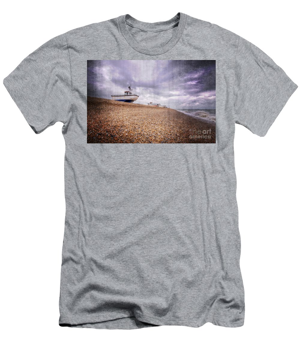 Fish Men's T-Shirt (Athletic Fit) featuring the digital art Fishing Boats At Dungeness by Nigel Bangert