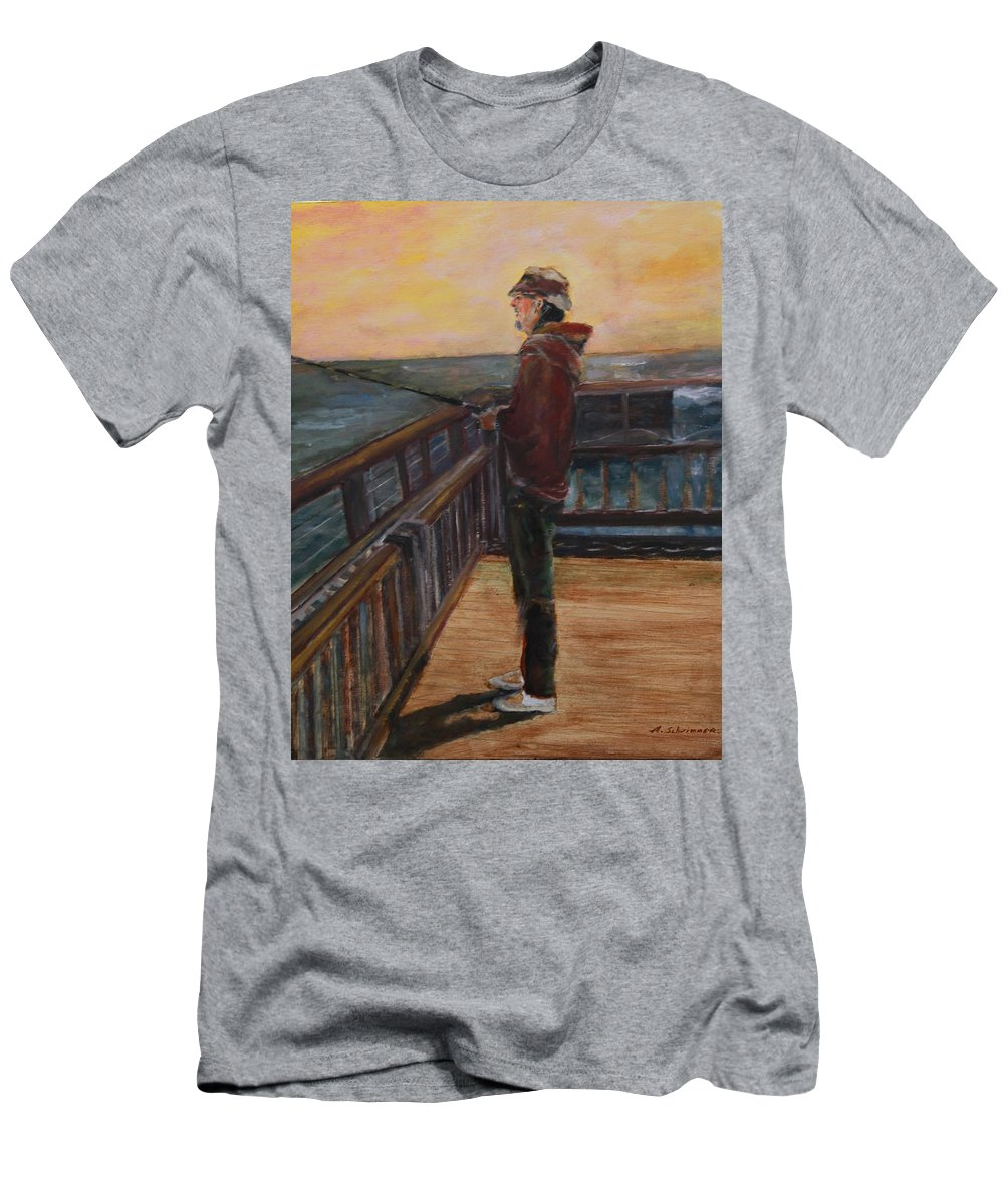 Fisherman Men's T-Shirt (Athletic Fit) featuring the painting Fishing Off Sausalito Boardwalk by Marcelle Schvimmer