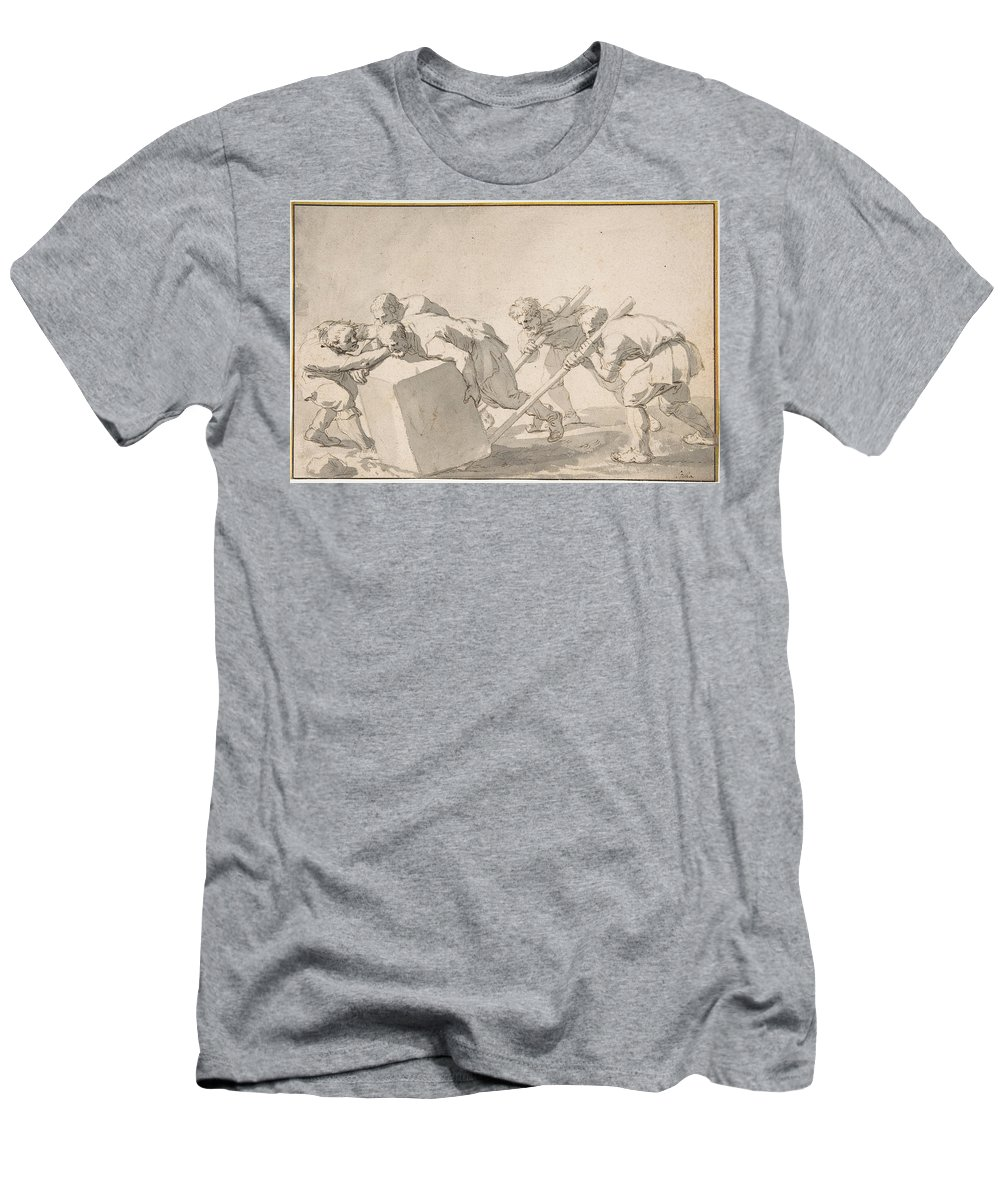 Jacques Stella Men's T-Shirt (Athletic Fit) featuring the drawing Five Men Pushing A Block Of Stone by Jacques Stella