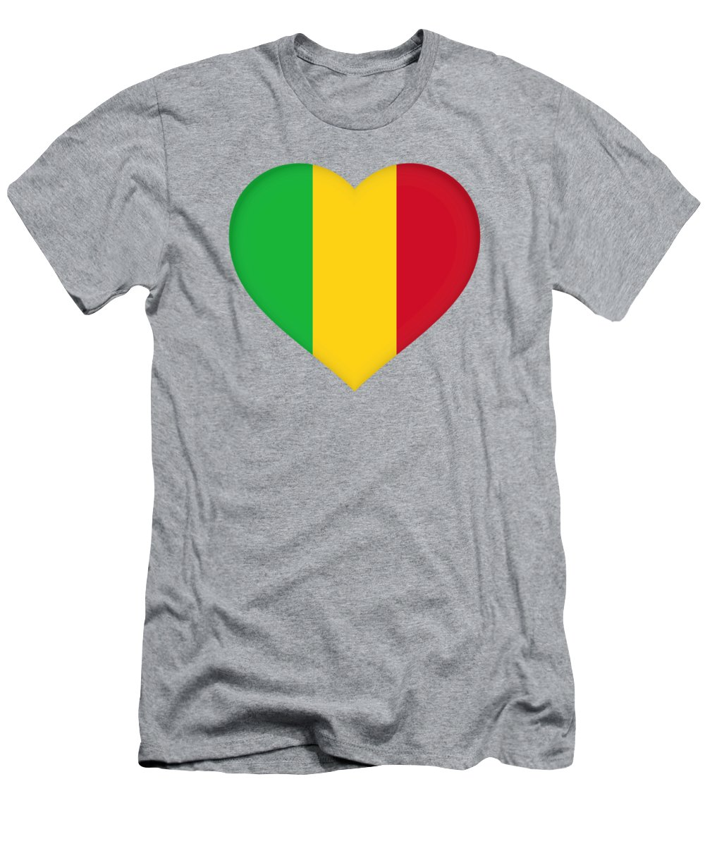 Africa Men's T-Shirt (Athletic Fit) featuring the digital art Flag Of Mali Heart by Roy Pedersen