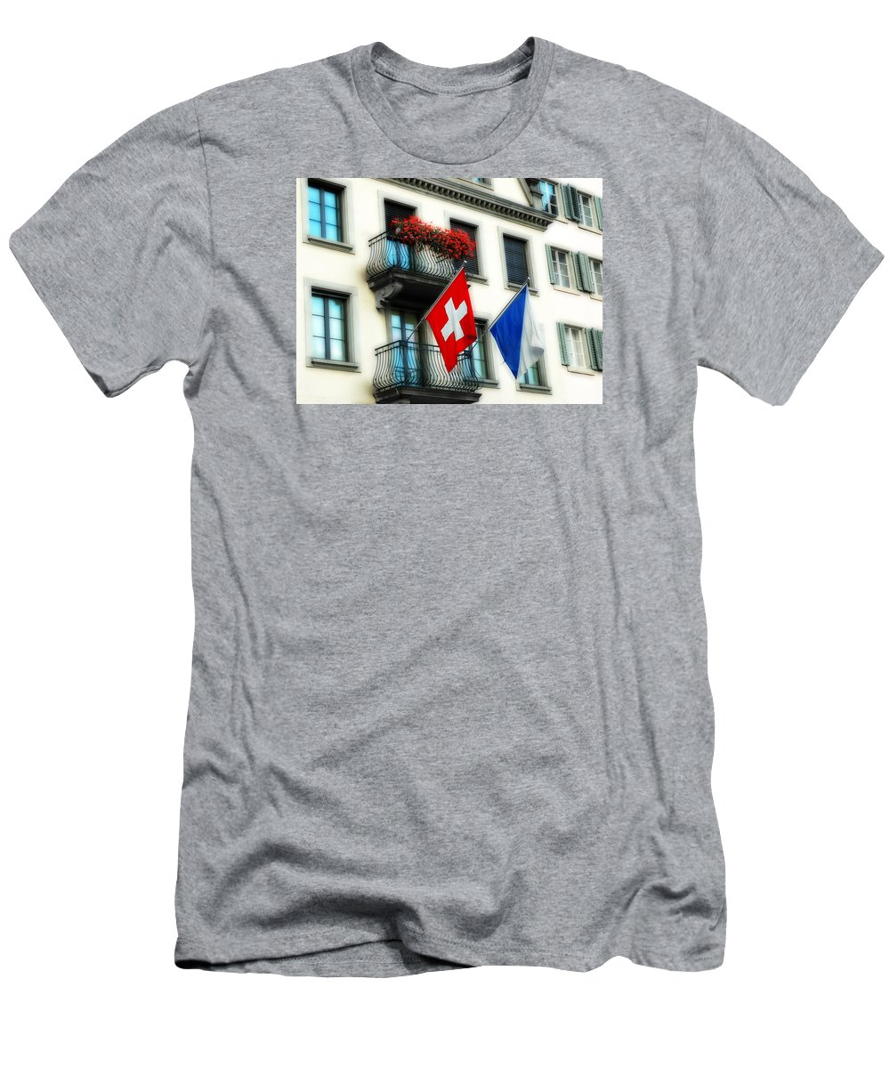 Europe Men's T-Shirt (Athletic Fit) featuring the photograph Flags Of Switzerland And Zurich by Ginger Wakem