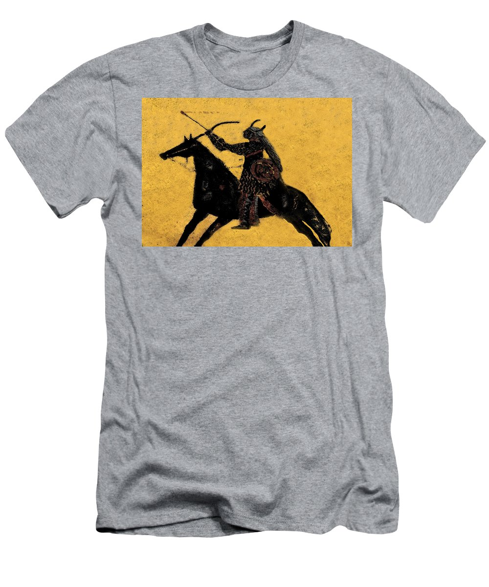 Flaming Arrow Men's T-Shirt (Athletic Fit) featuring the painting Flaming Arrow by David Lee Thompson