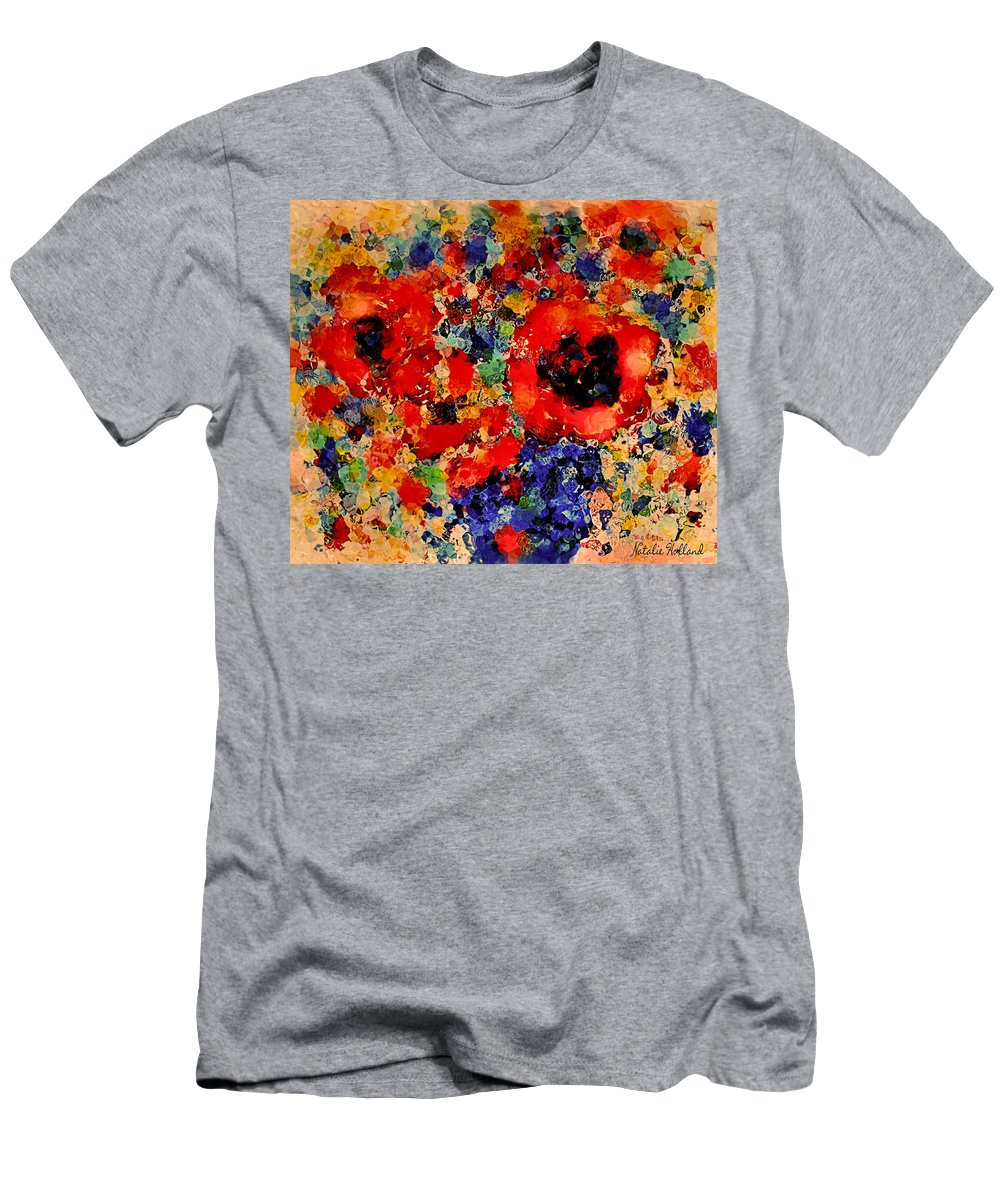 Red Flowers T-Shirt featuring the mixed media Floral Happiness by Natalie Holland