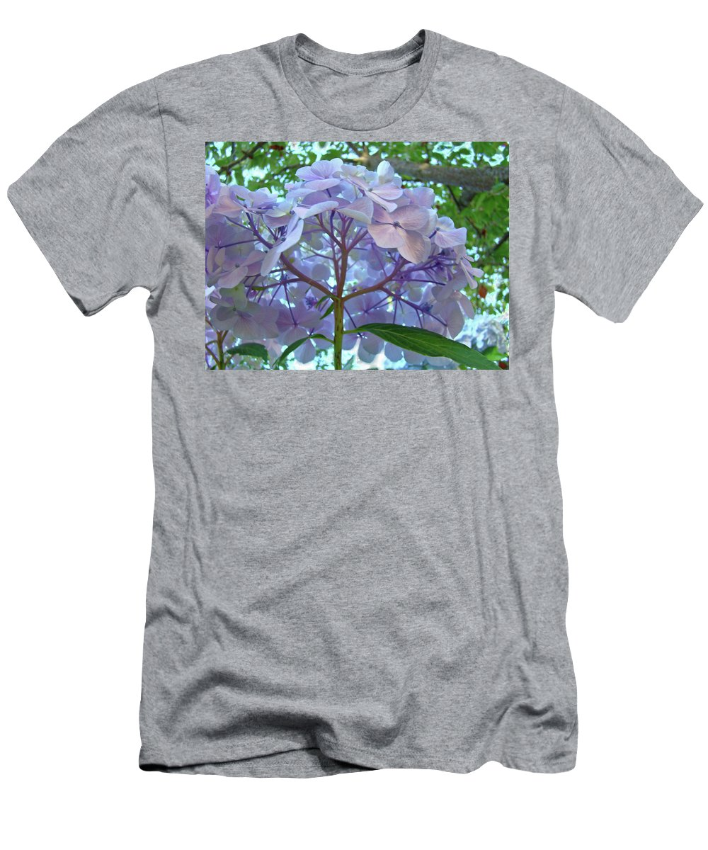 Nature Men's T-Shirt (Athletic Fit) featuring the photograph Floral Landscape Blue Hydrangea Flowers Baslee Troutman by Baslee Troutman